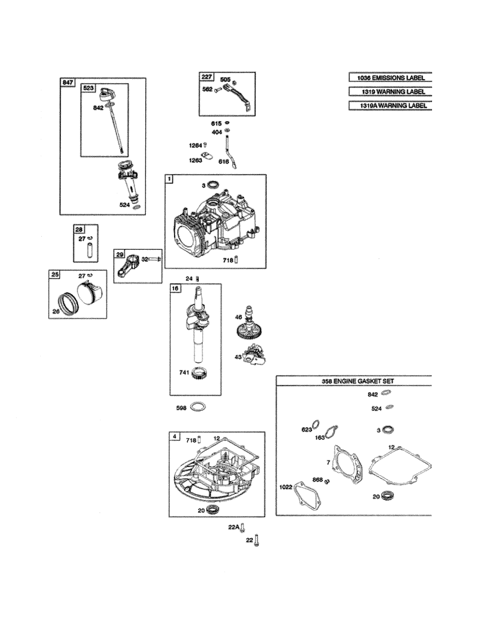 medium resolution of briggs stratton 104m02 0074 f1 cylinder crankshaft sump diagram