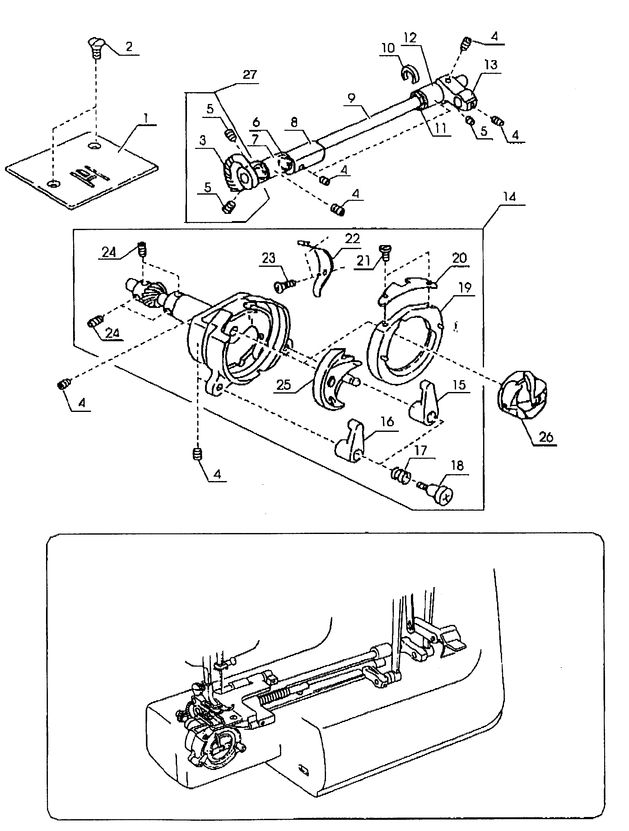 SEWING MACHINE Diagram & Parts List for Model 38515516000