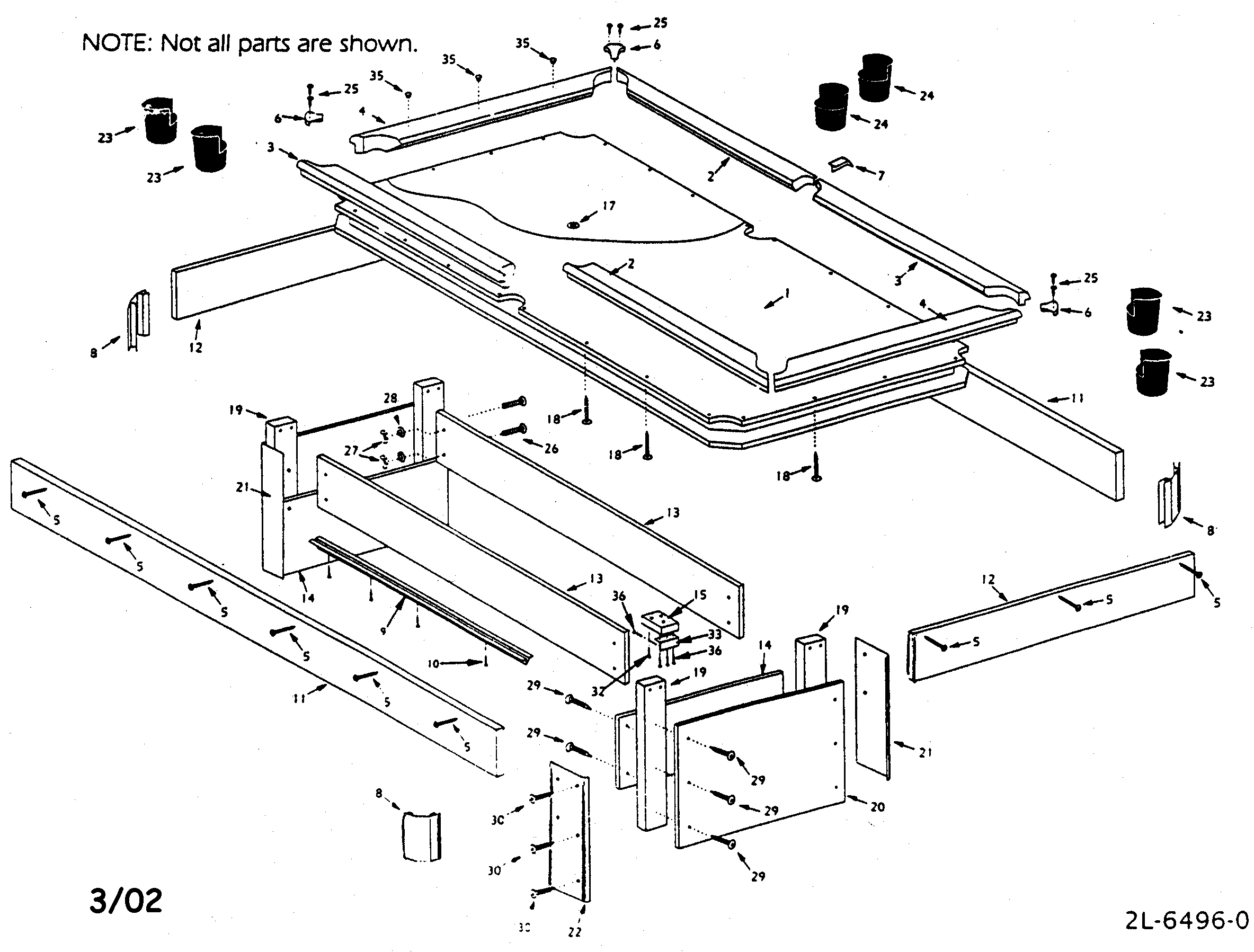 POOL TABLE Diagram & Parts List for Model 52725169 Sears