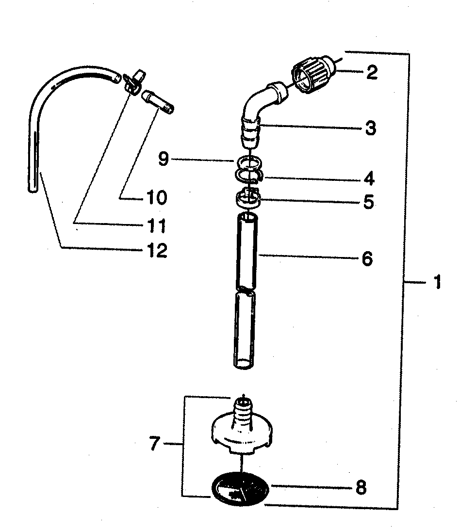 SUCTION SET ASSY Diagram & Parts List for Model 833 Wagner