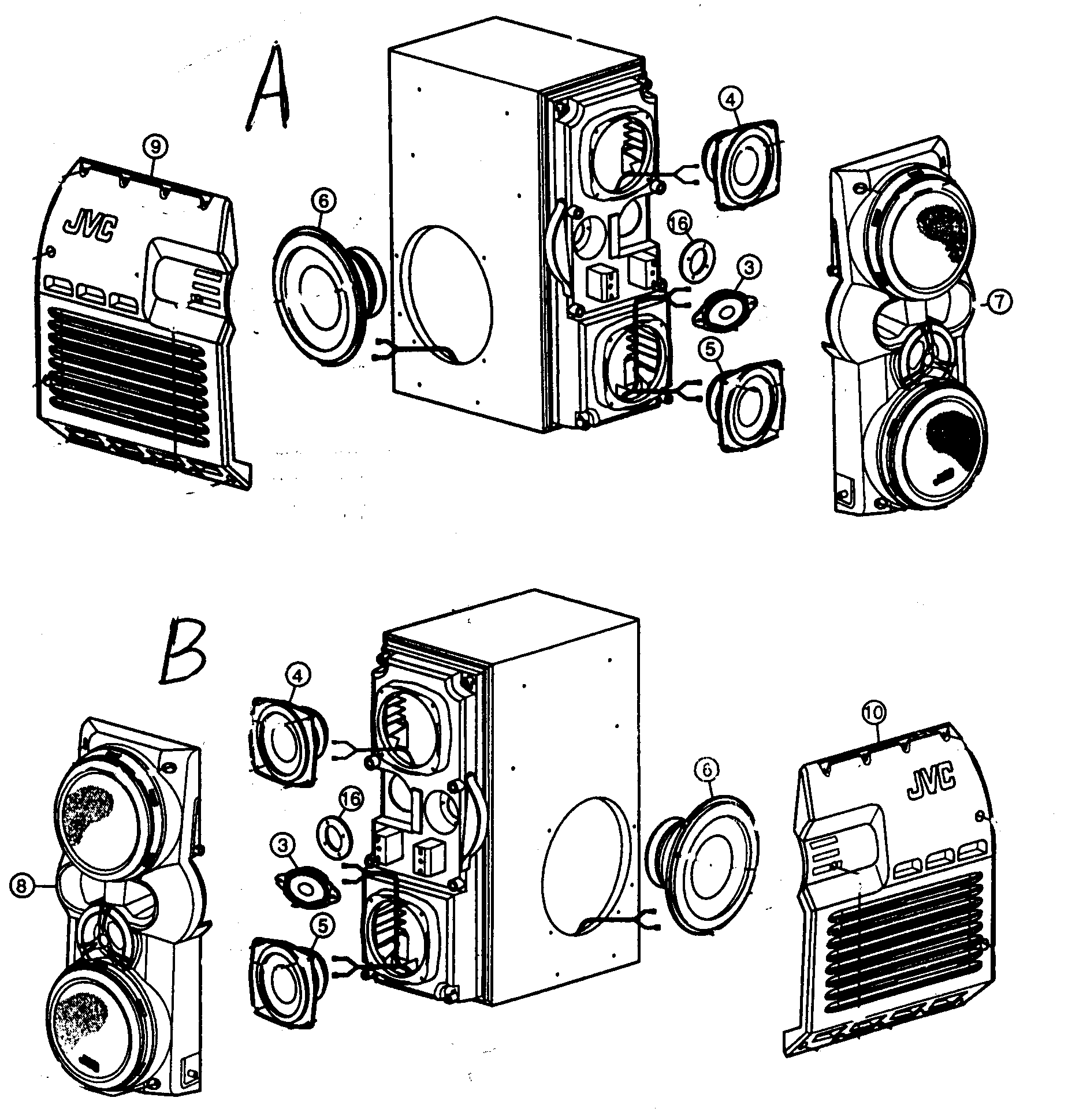 SPEAKERS Diagram & Parts List for Model hxz1 Jvc-Parts