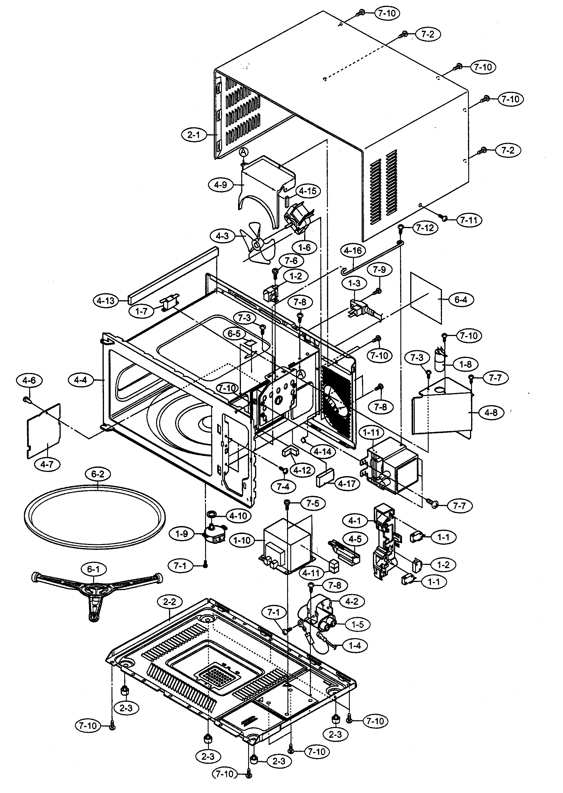 sharp carousel microwave parts diagram
