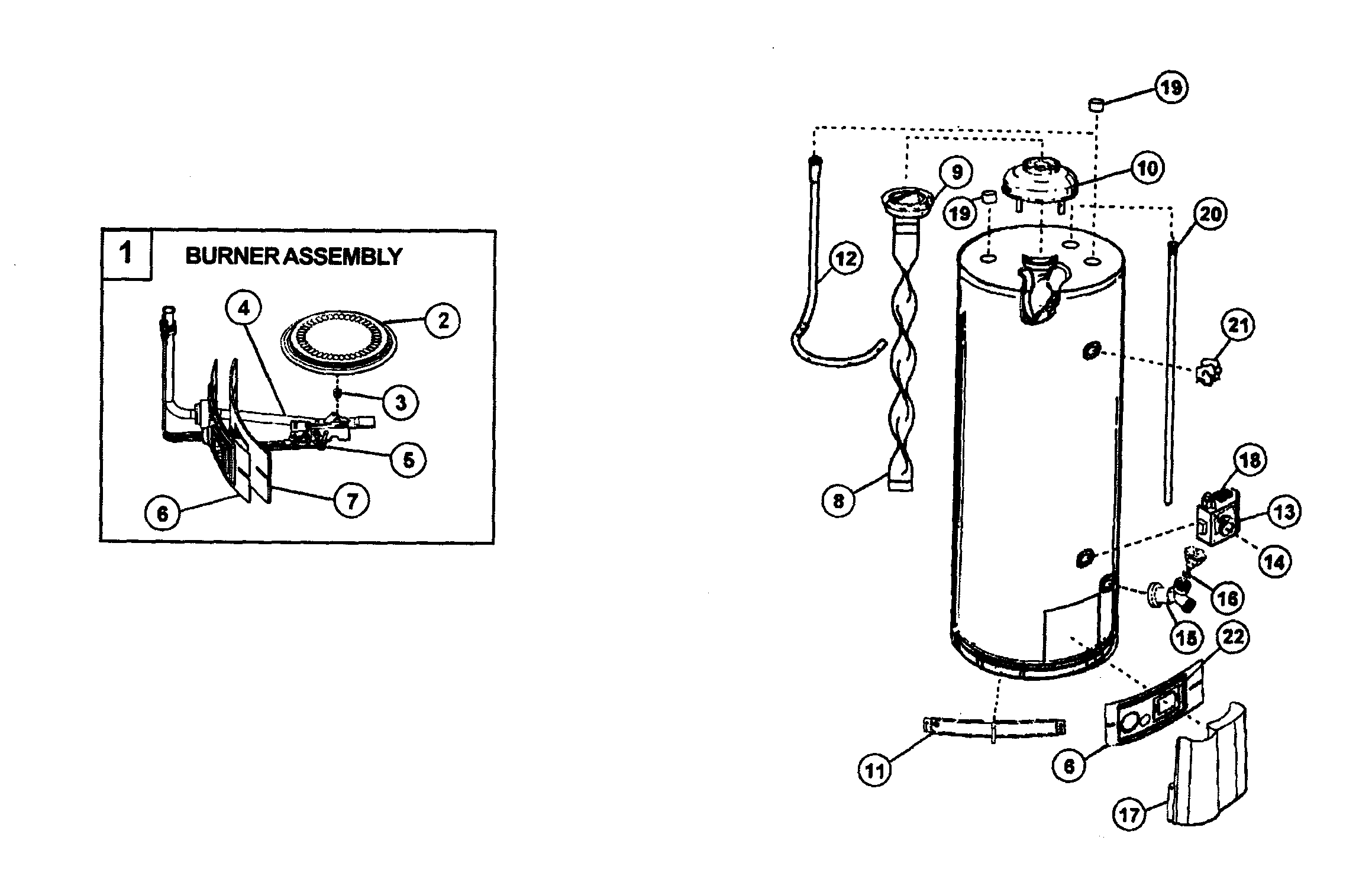 WATER HEATER Diagram & Parts List for Model 153339260