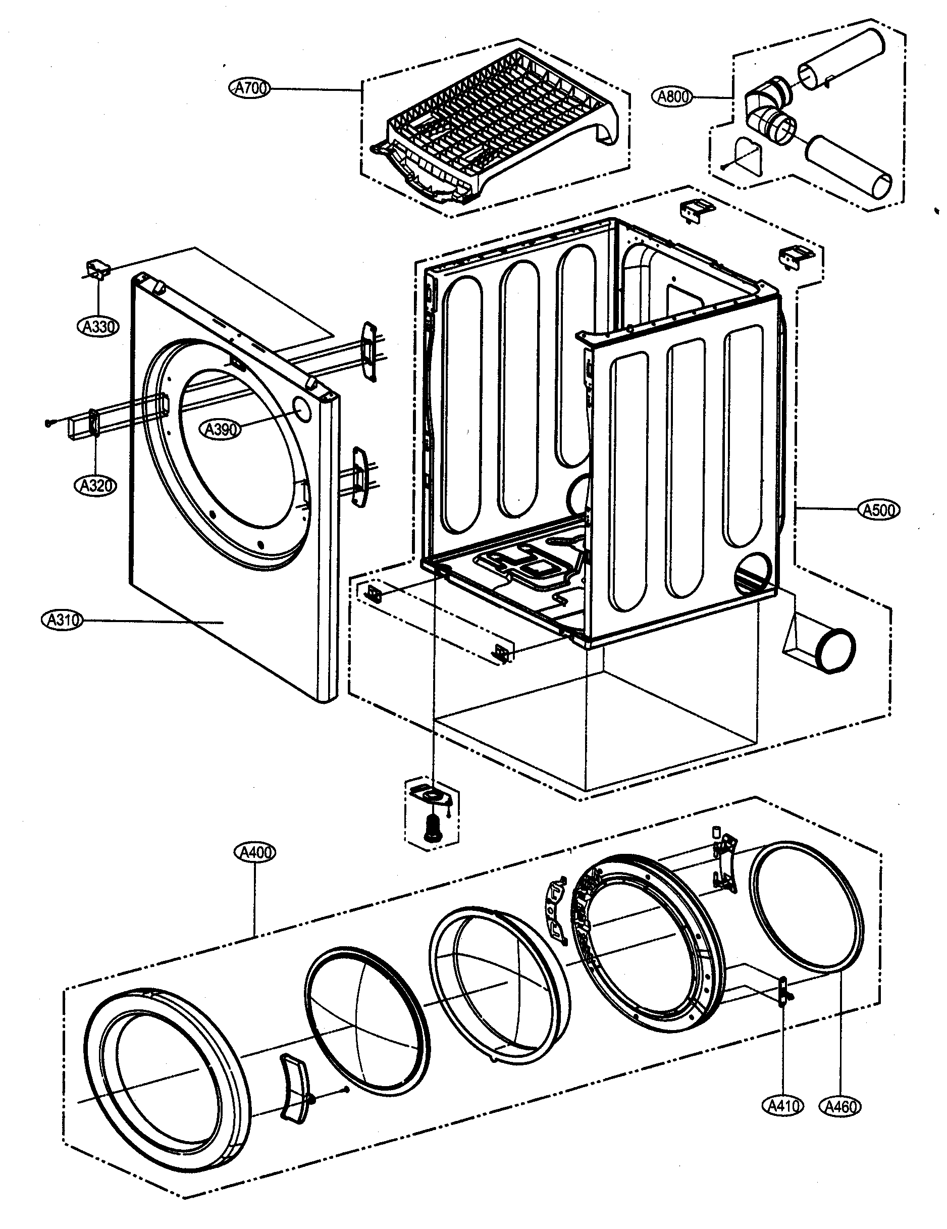 CABINET/DOOR ASSY Diagram & Parts List for Model DLE5932W