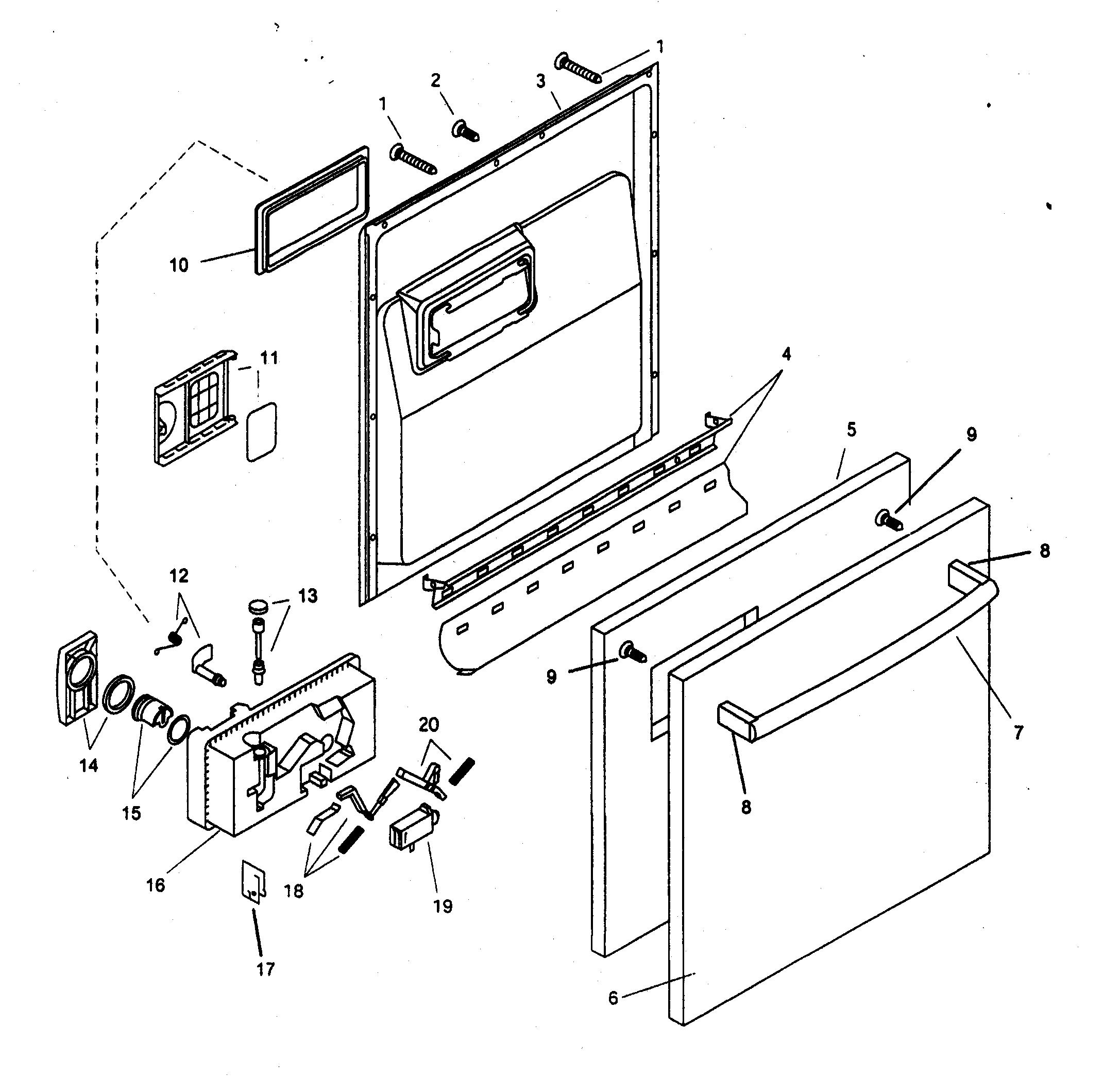 DOOR ASSY Diagram & Parts List for Model SHX46A06UC14