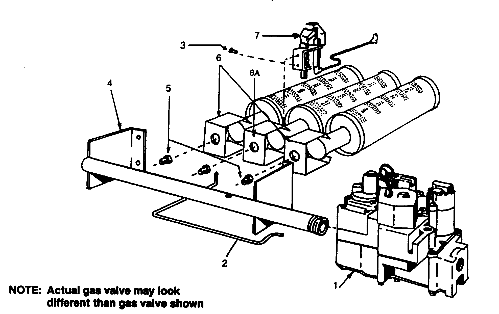 NATURAL GAS BURNERS/MANIFOLD Diagram & Parts List for