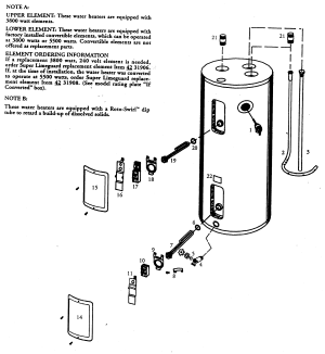 WATER HEATER Diagram & Parts List for Model 153326660