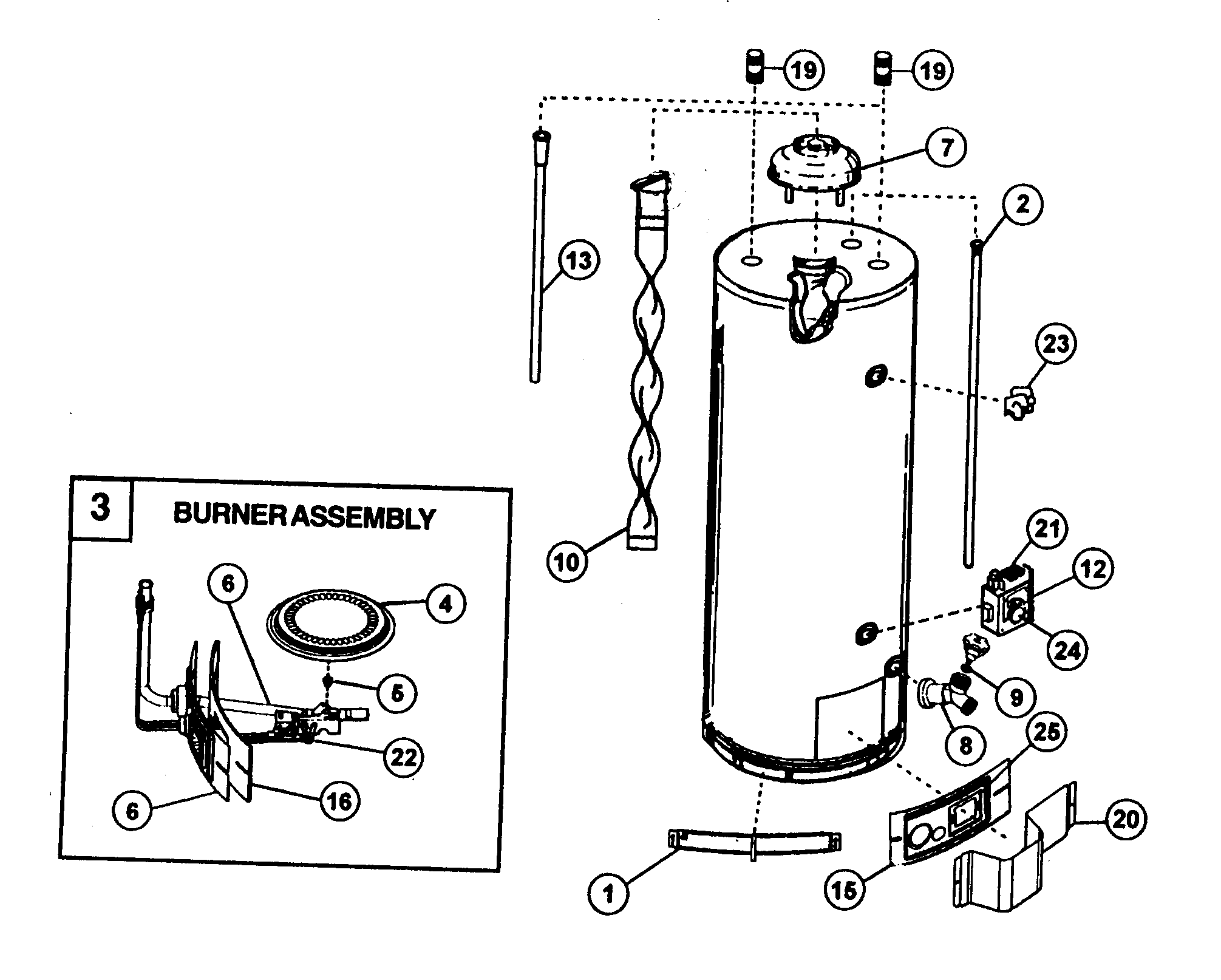 WATER HEATER Diagram & Parts List for Model 153333546
