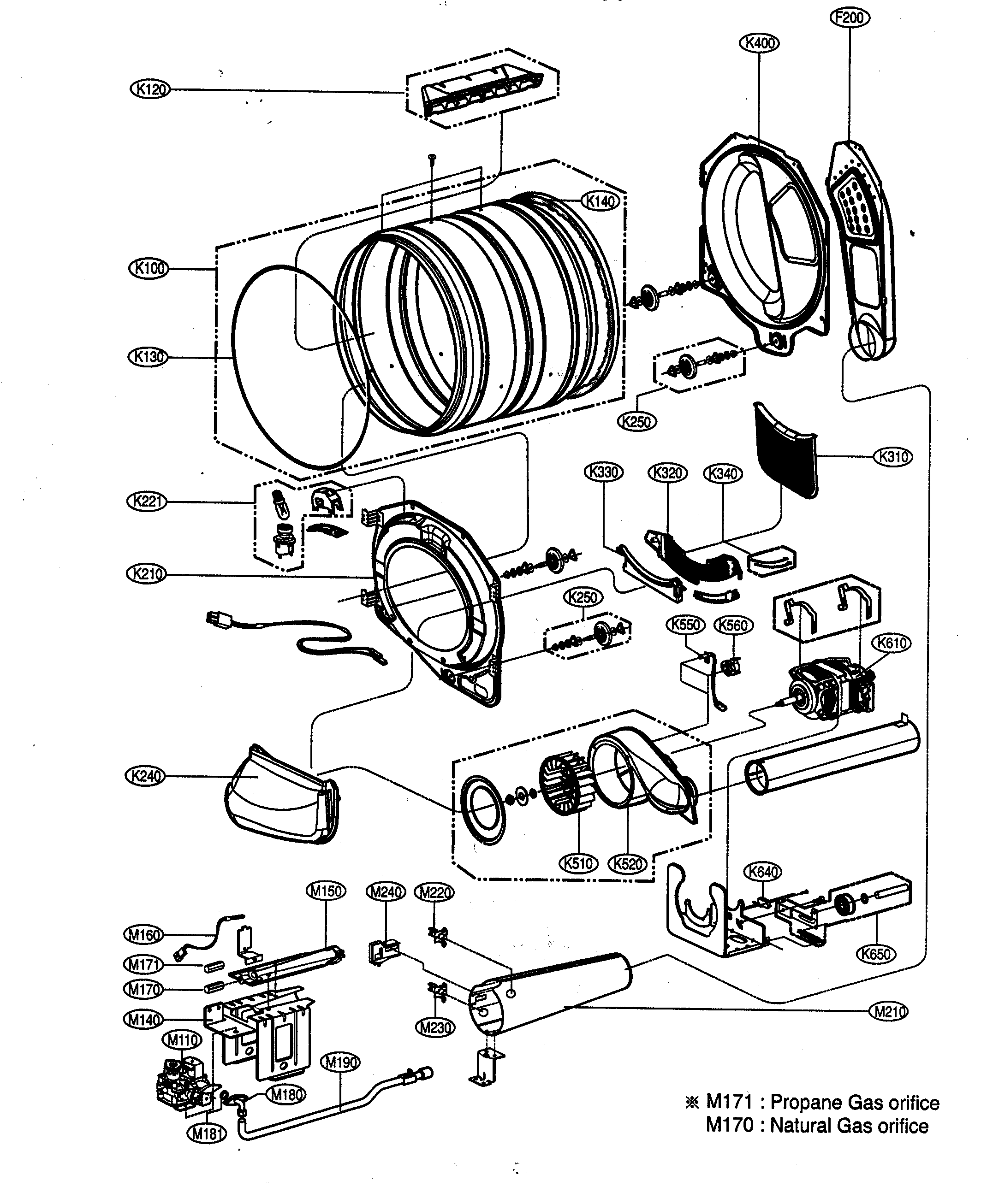 DRUM/MOTOR ASSY Diagram & Parts List for Model dlg5988w LG
