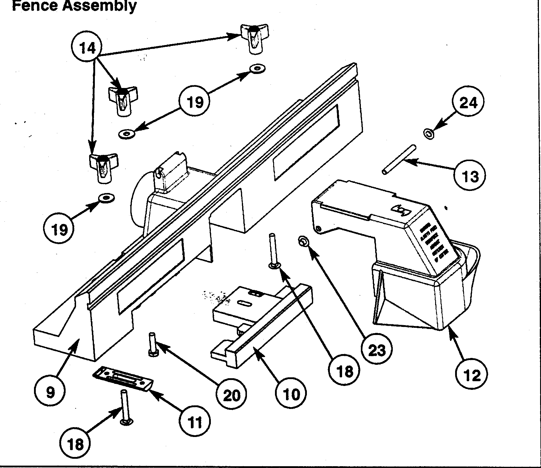 FENCE ASSY Diagram & Parts List for Model 171266110