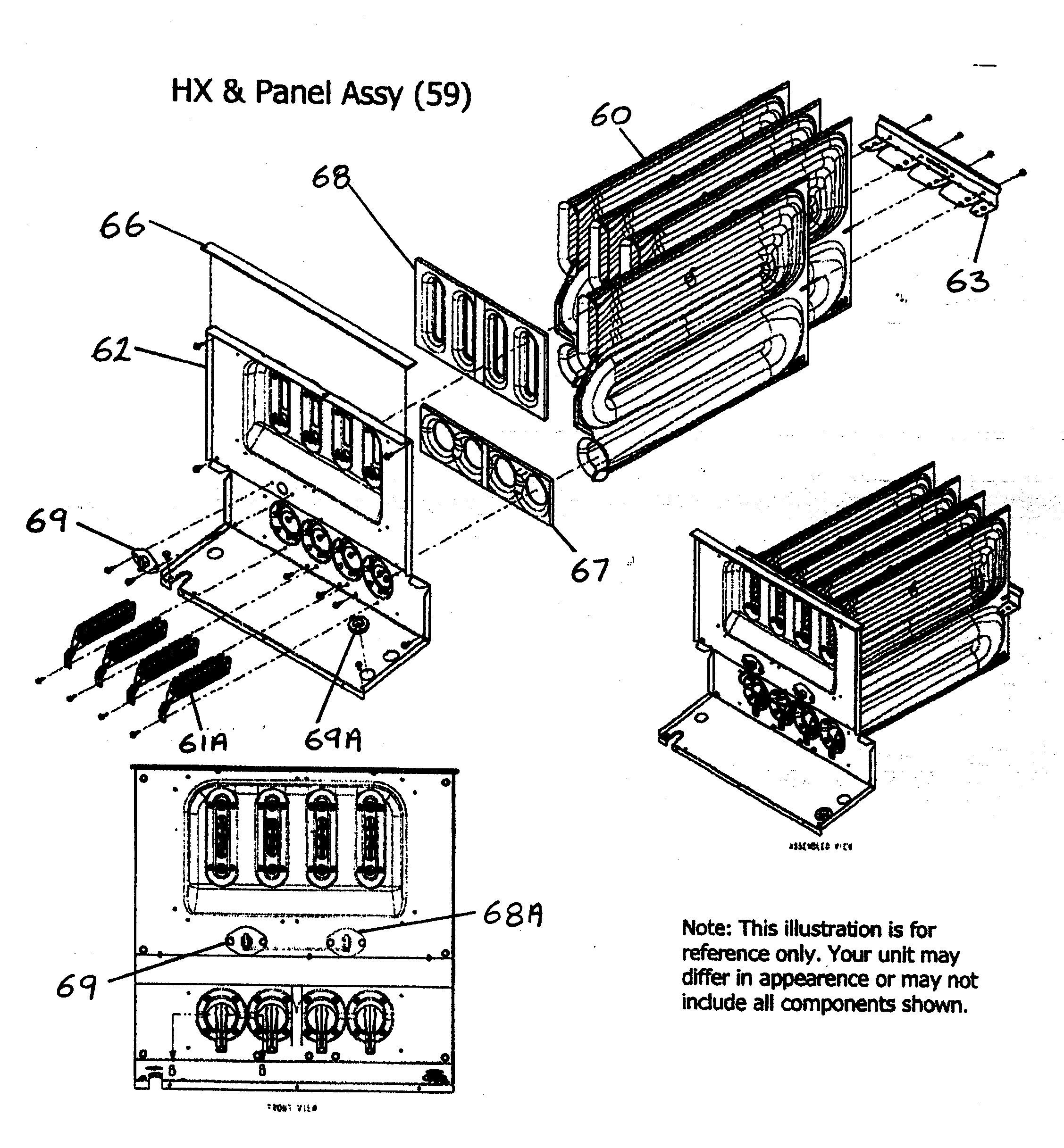 HX/PANEL ASSY Diagram & Parts List for Model