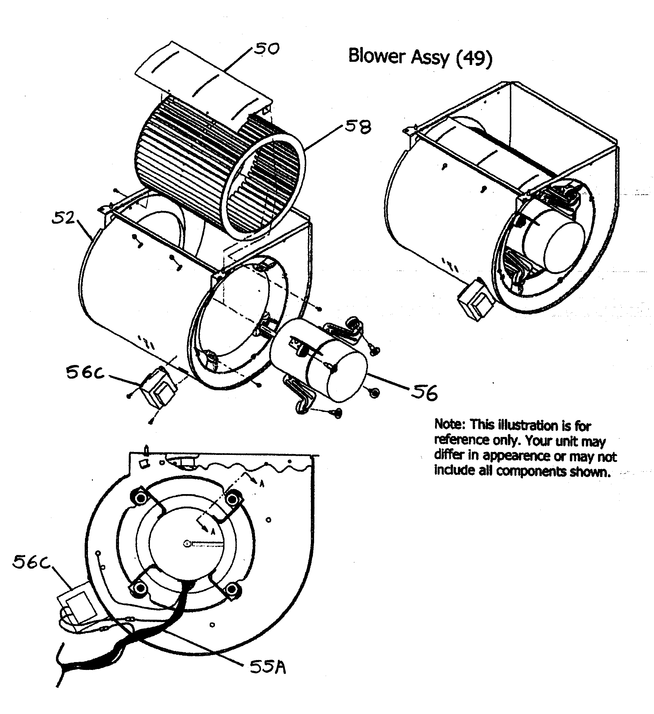 BLOWER ASSY Diagram & Parts List for Model