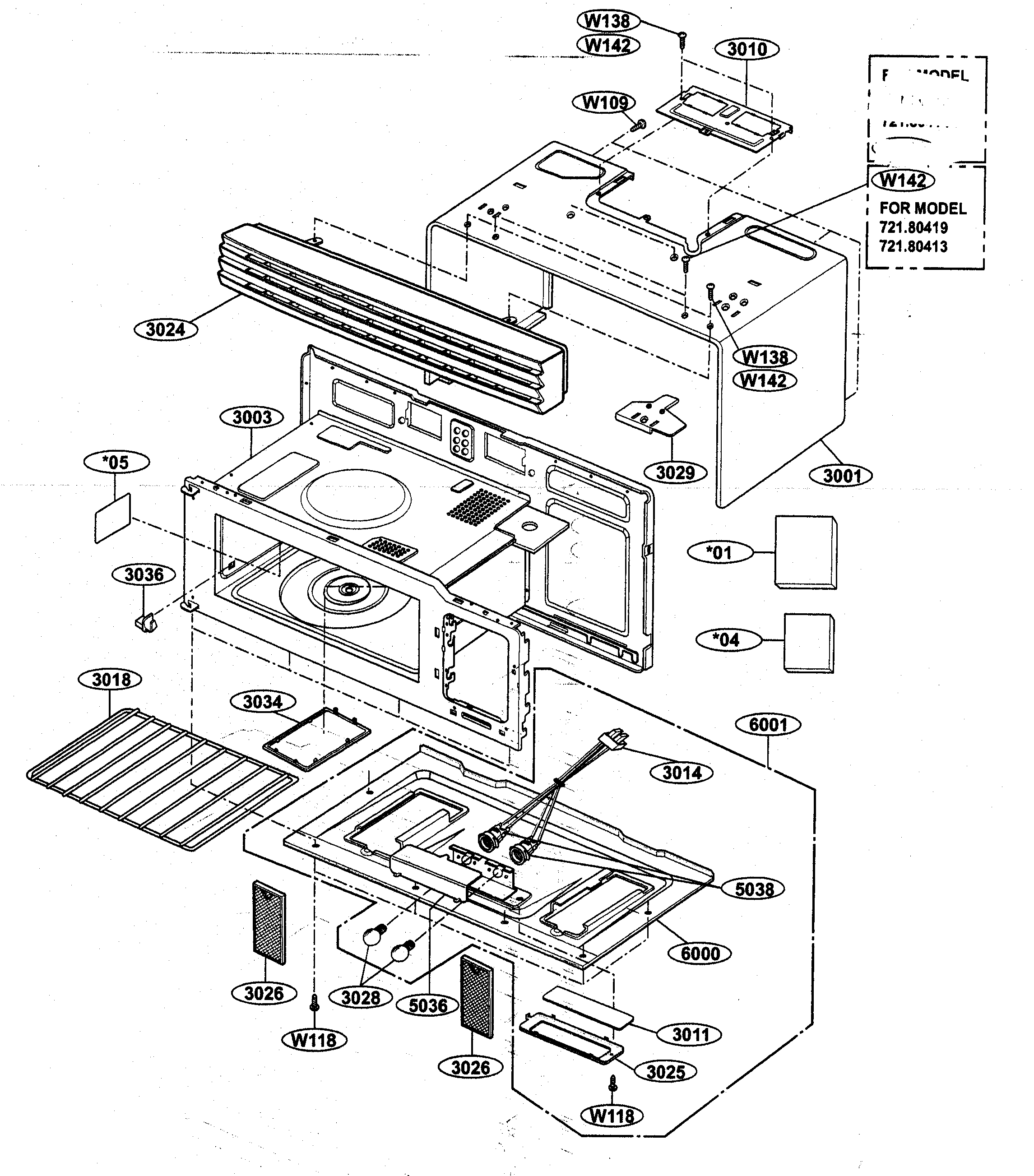 OVEN CAVITY PARTS Diagram & Parts List for Model