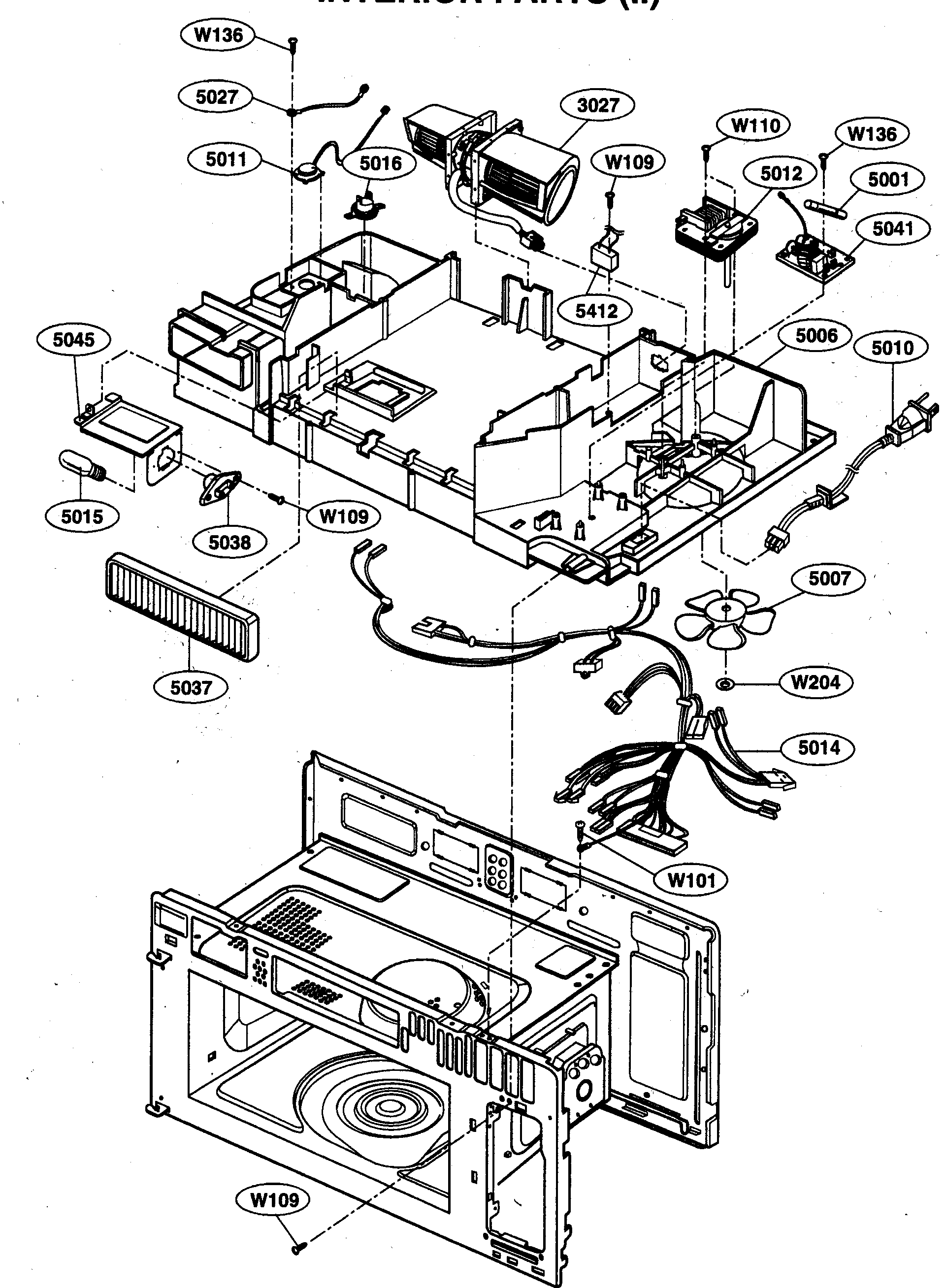 KENMORE Microwave Venthood Combination Interior Parts