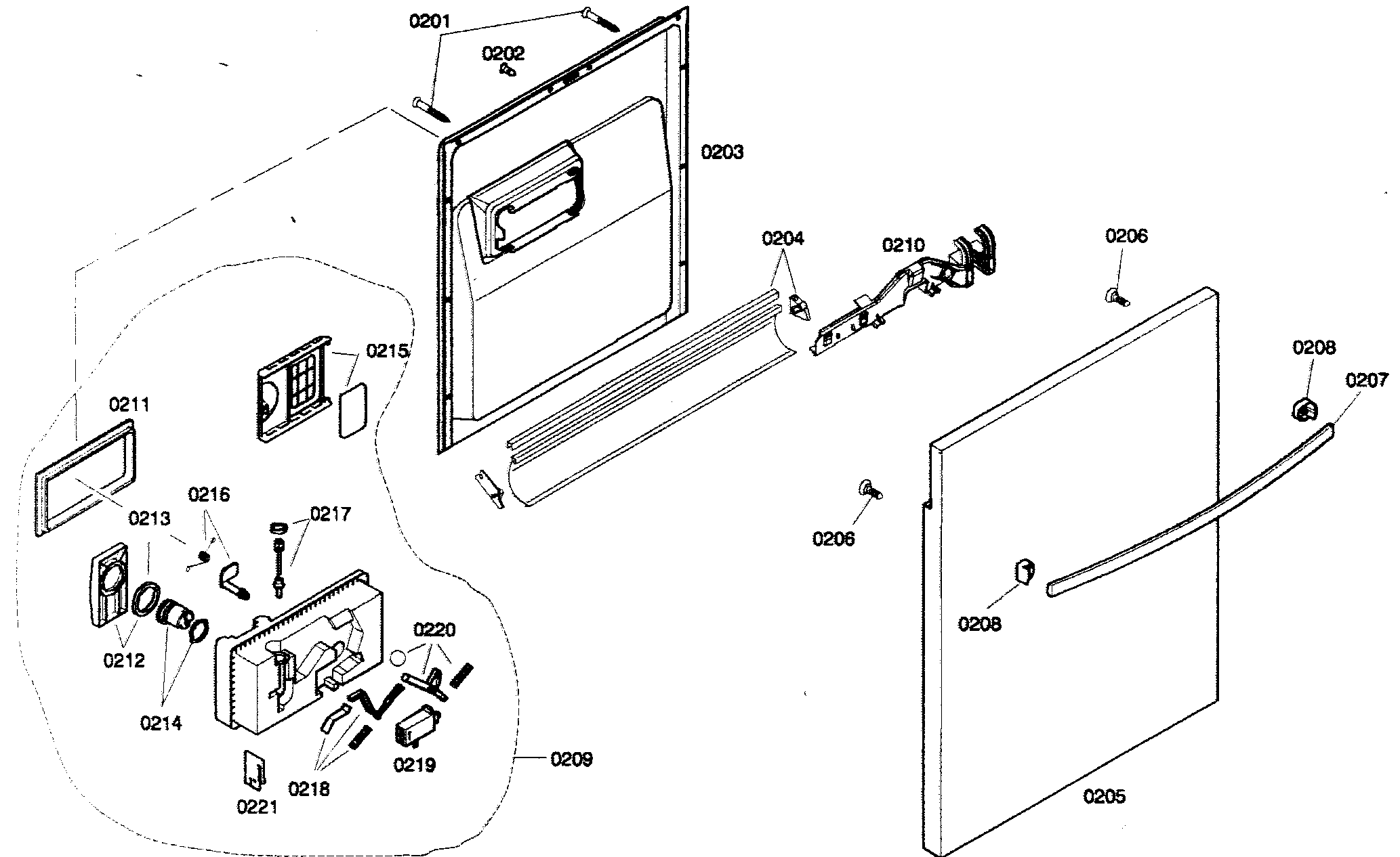 DOOR ASSY Diagram & Parts List for Model SHX33A05UC21
