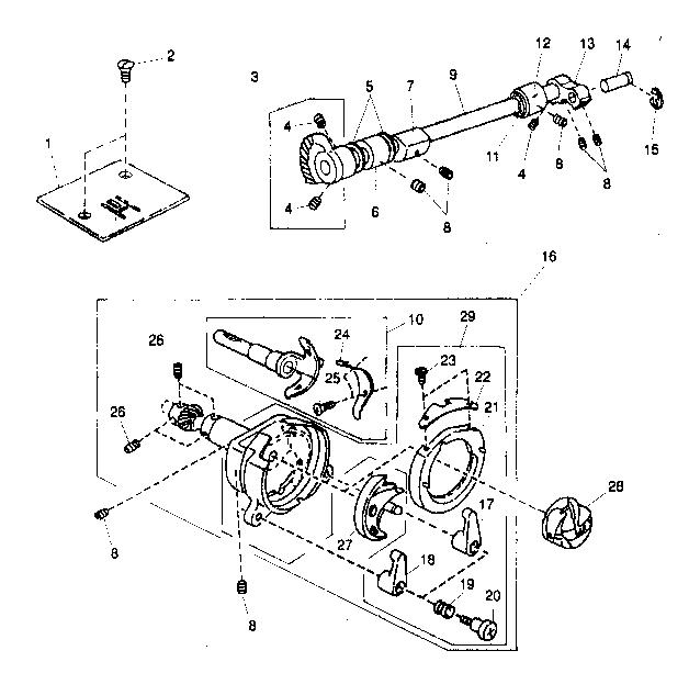 BOBBIN ASSY Diagram & Parts List for Model 38515408500