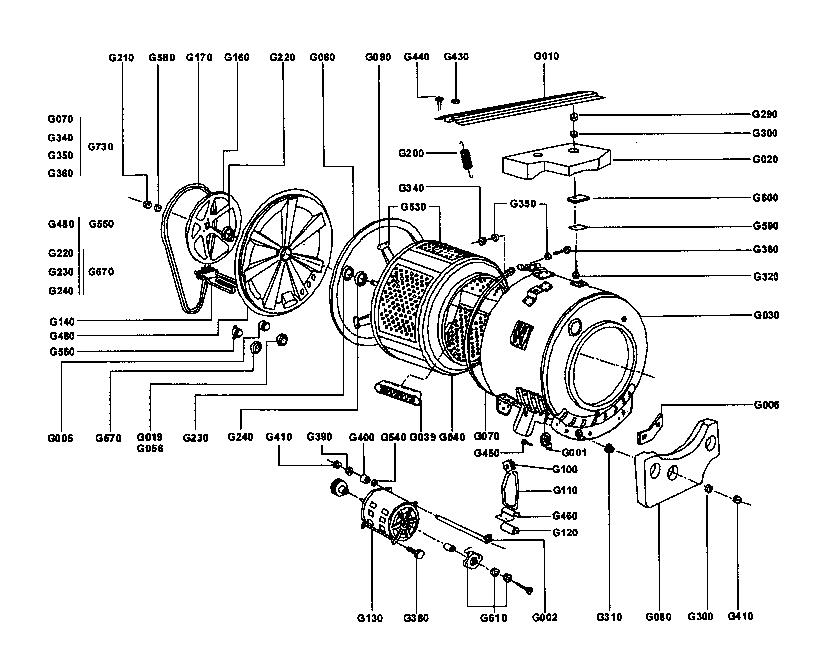 DRUM ASSY Diagram & Parts List for Model sw5l40d Supra