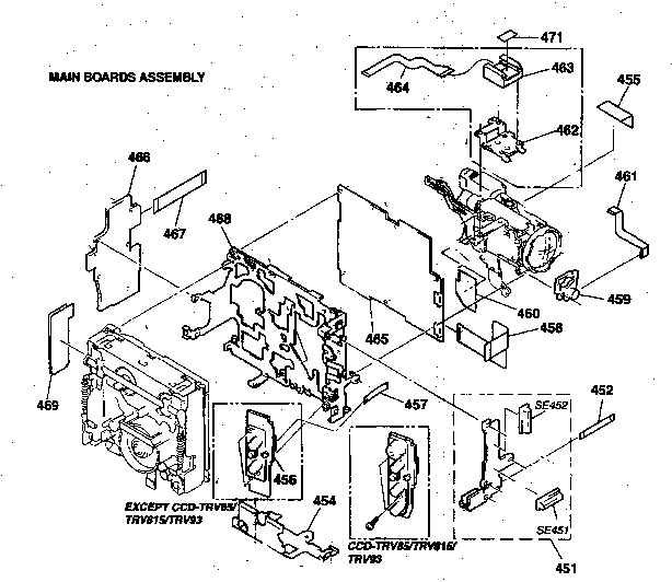 MAIN BOARD ASSY Diagram & Parts List for Model CCD-TRV25