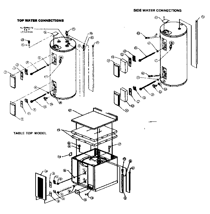 WATER HEATER Diagram & Parts List for Model e1a50rd045v