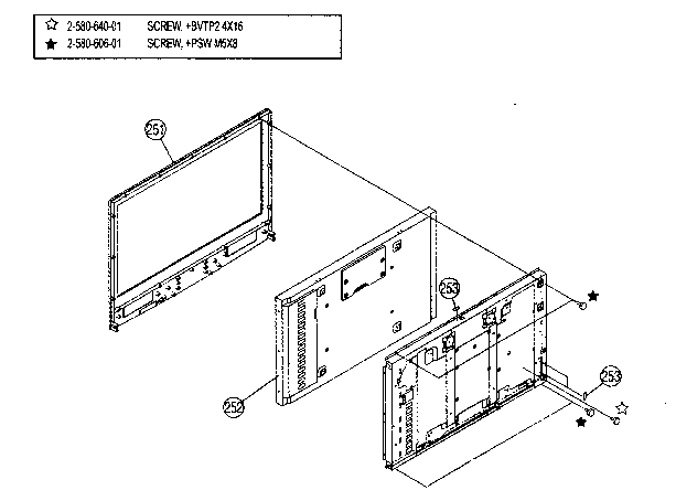 LCD PANEL Diagram & Parts List for Model KDL-46S2000 Sony