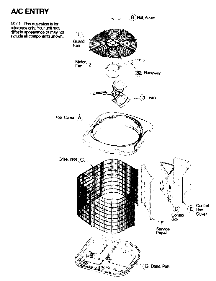 CABINET PARTS Diagram & Parts List for Model n2a348aka200