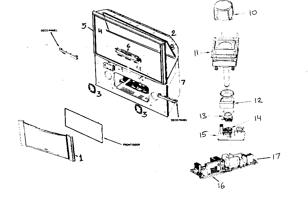 CABINET PARTS Diagram & Parts List for Model 57f59a