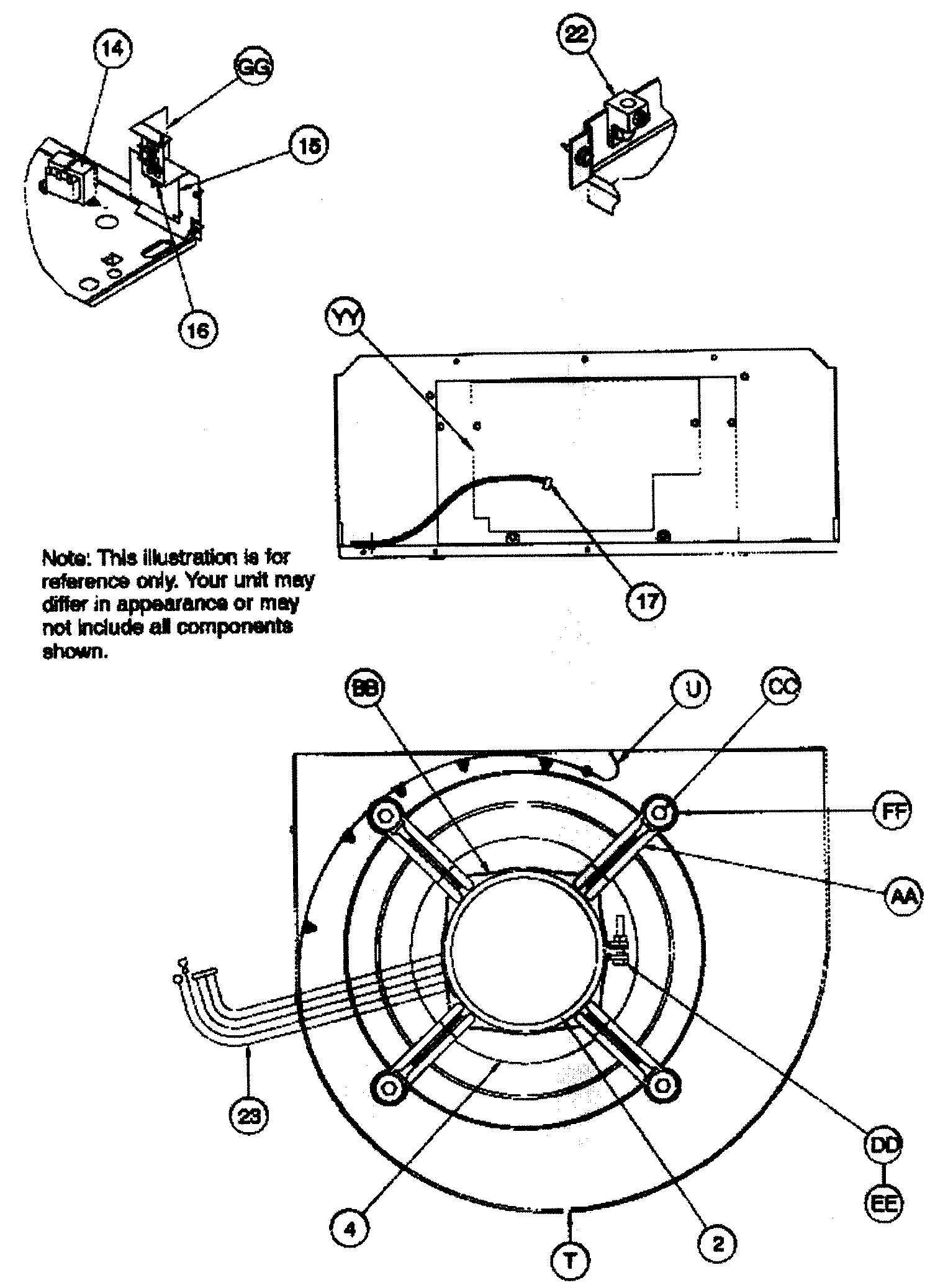 BLOWER ASSY Diagram & Parts List for Model fsm2x3600a1 Icp