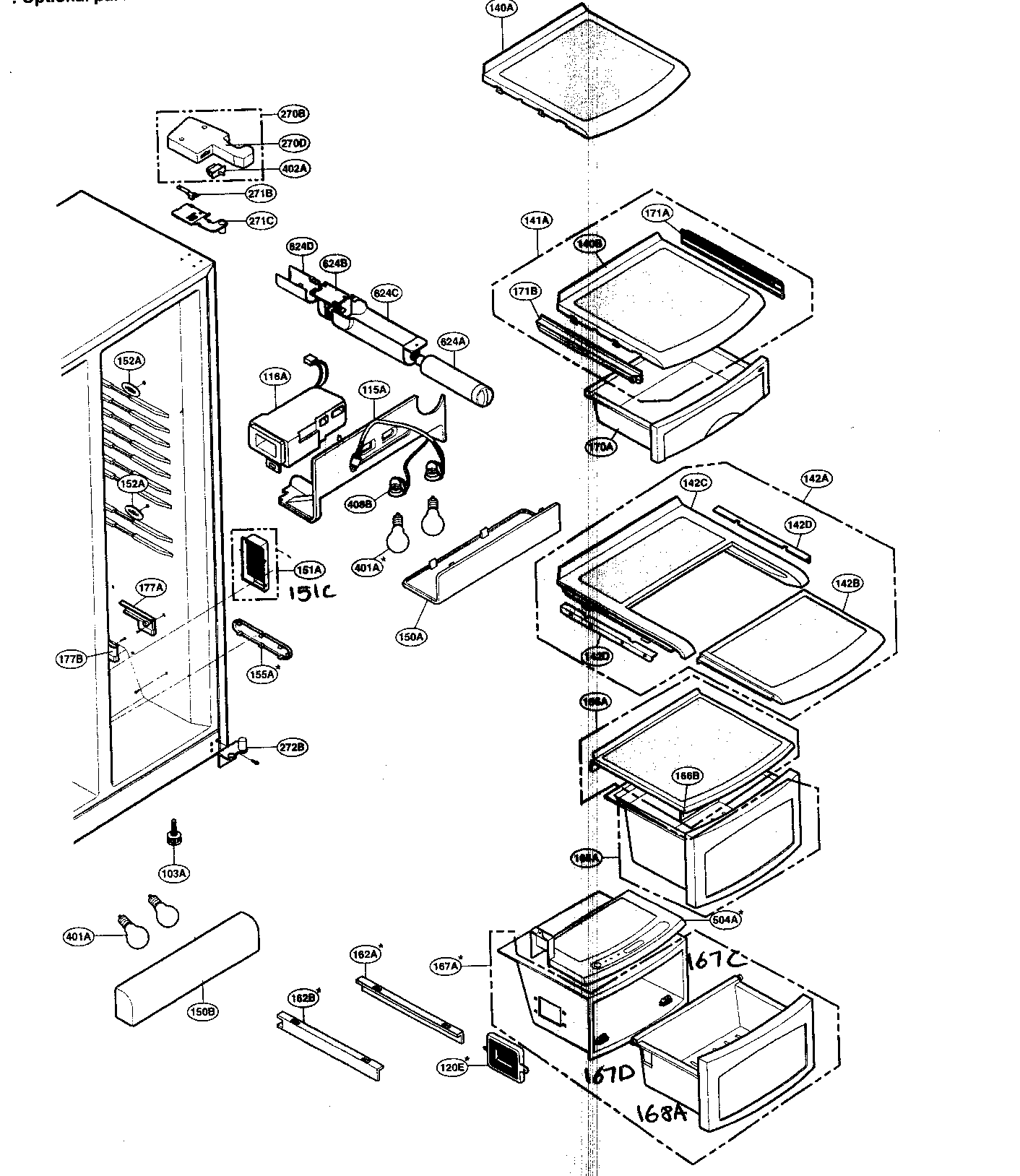 hight resolution of lg lsc27950sw refrigerator compartment diagram