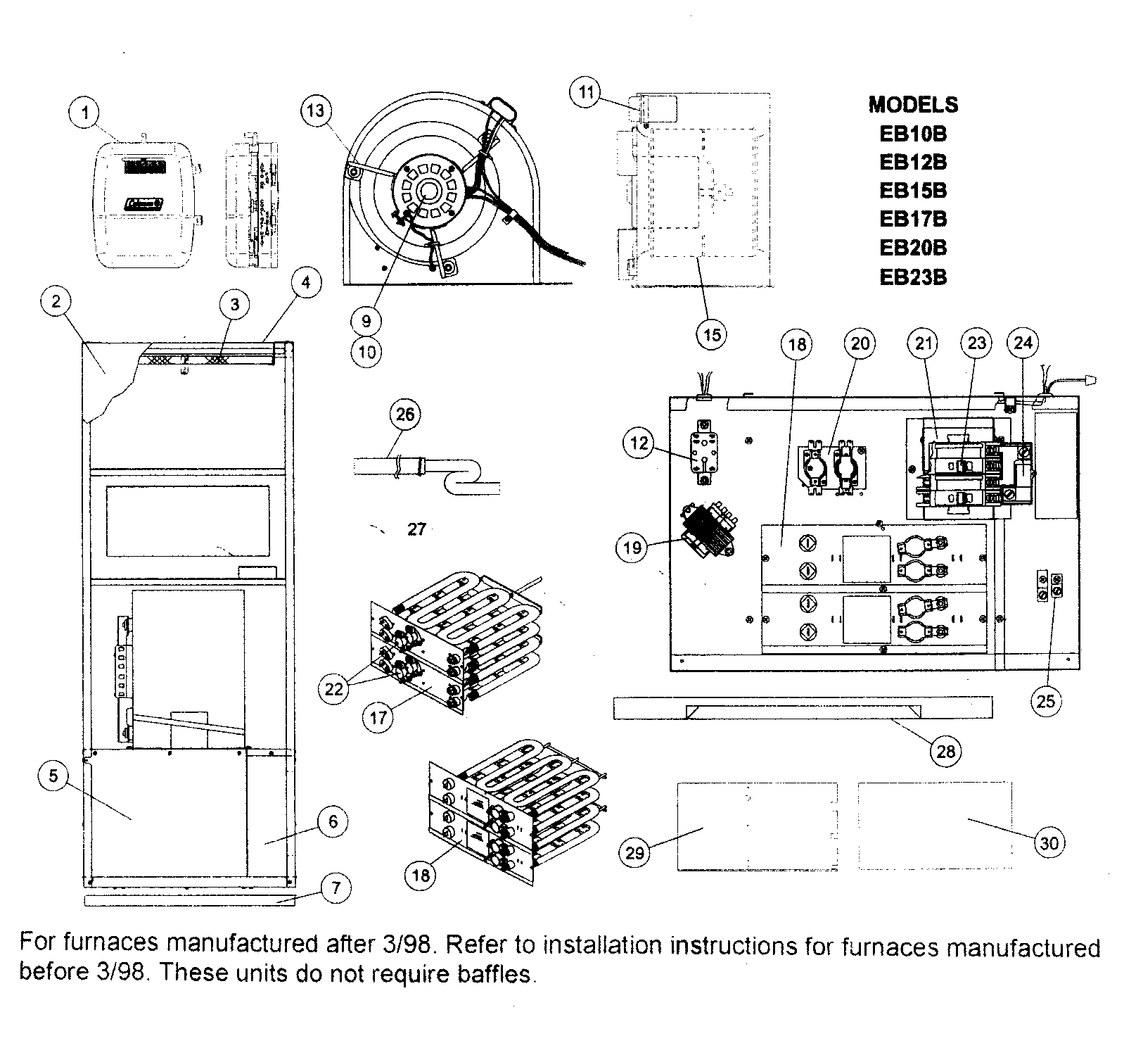 coleman evcon electric furnace wiring diagram underfloor heating thermostat ind parts model eb17brevf