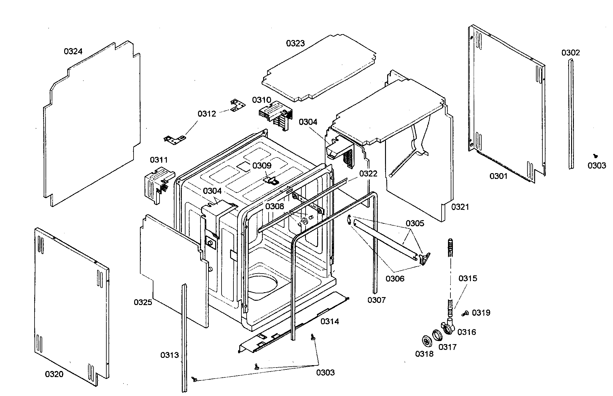 CABINET ASSY Diagram & Parts List for Model 63016303403