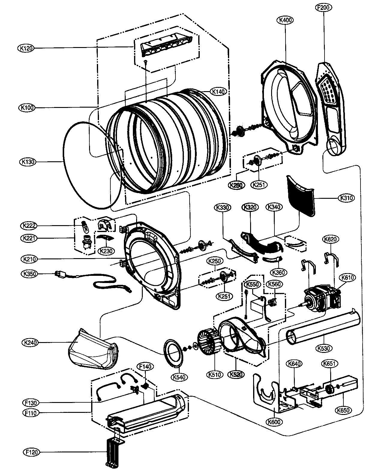DRUM/MOTOR ASSY Diagram & Parts List for Model dlg9588sm