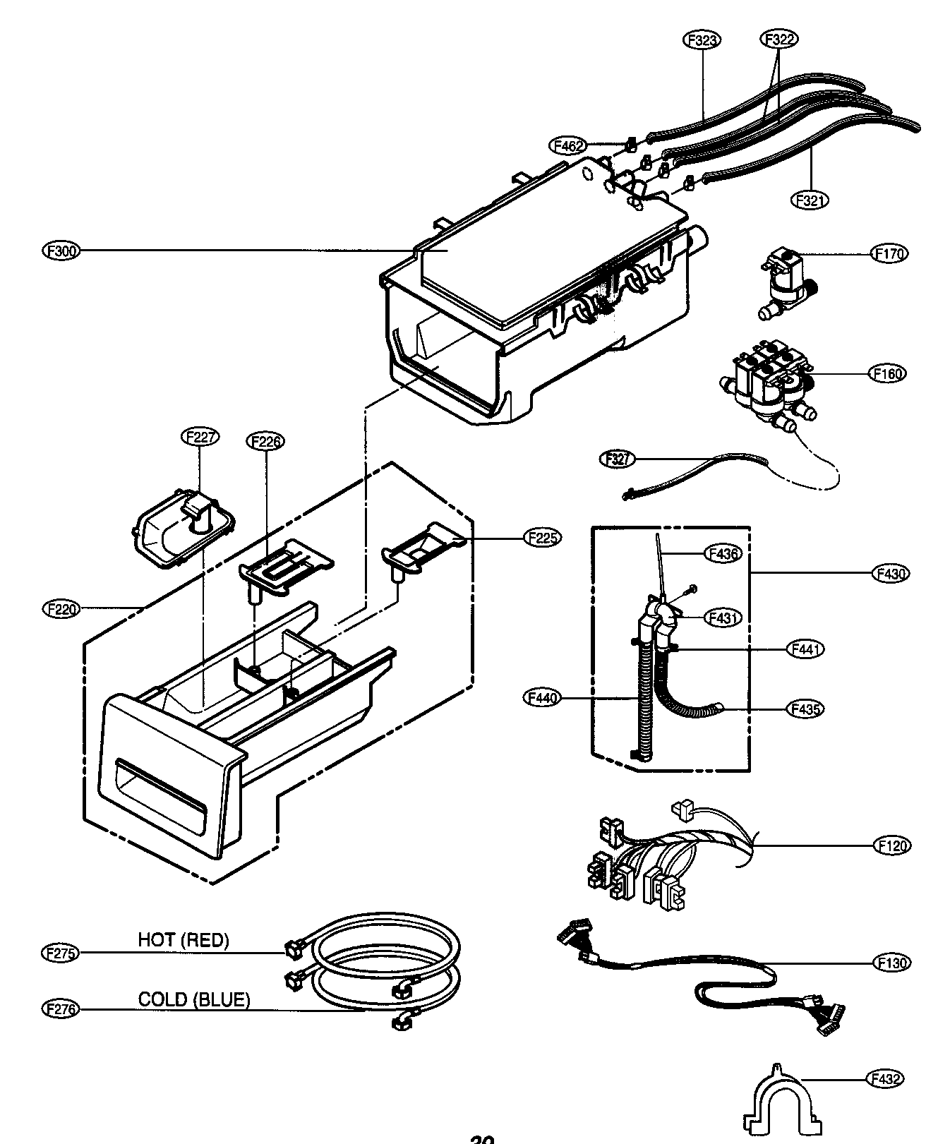 DISPENSER ASSY Diagram & Parts List for Model wm2496hwm LG