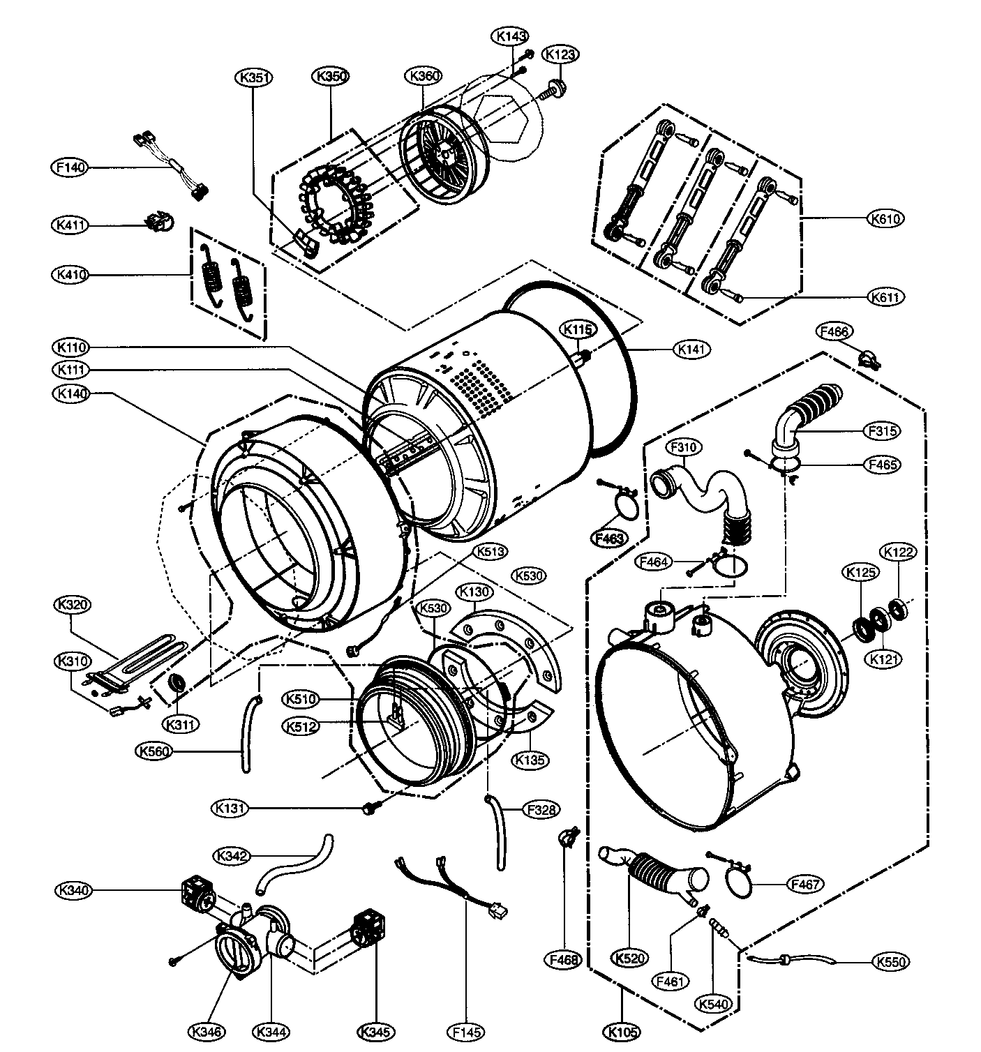 DRUM/TUB ASSY Diagram & Parts List for Model WM2496HSM LG