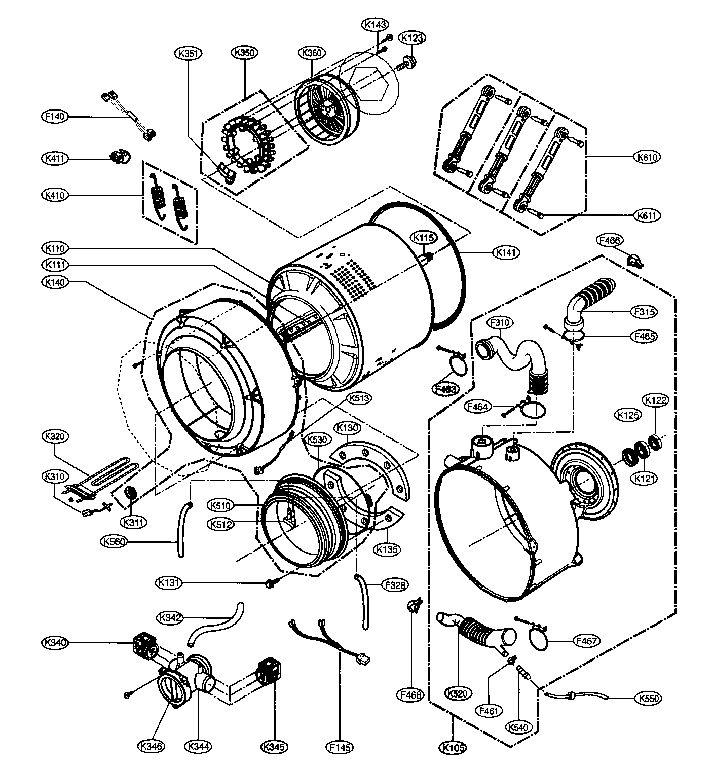 DRUM/TUB ASSY Diagram & Parts List for Model wm2487hwm LG