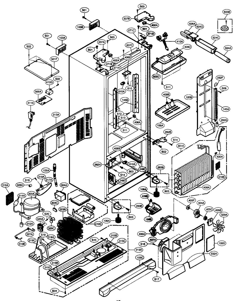 medium resolution of lg model lfx21960st 00 bottom mount refrigerator genuine parts lg refrigerator parts lg refrigerator diagrams