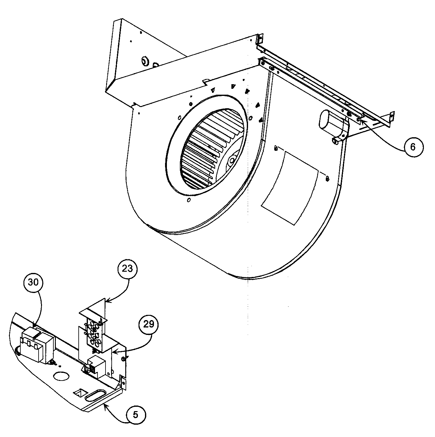 BLOWER ASSY Diagram & Parts List for Model pf1mnc019000