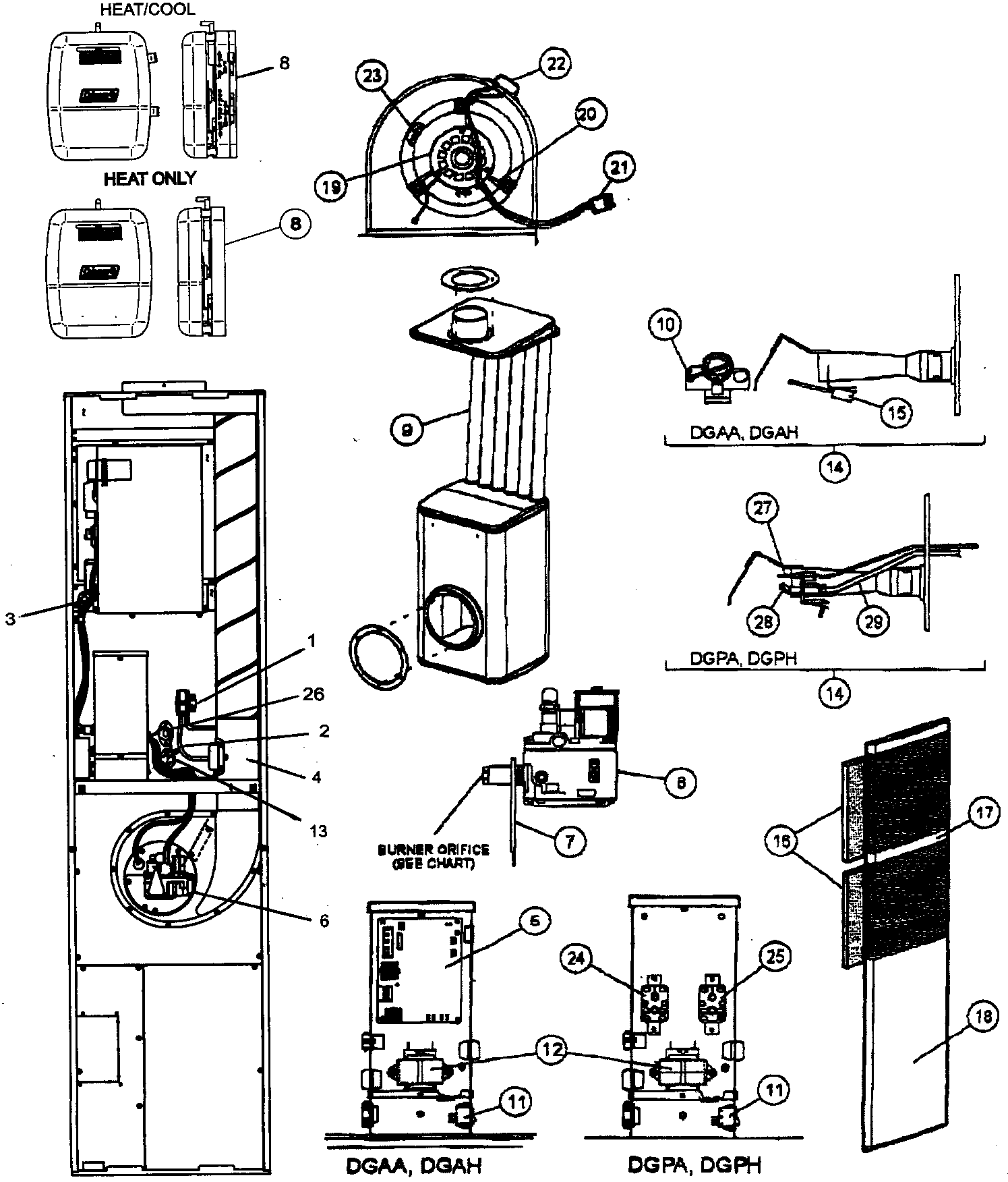 CABINET PARTS Diagram & Parts List for Model DGAA070BDTA