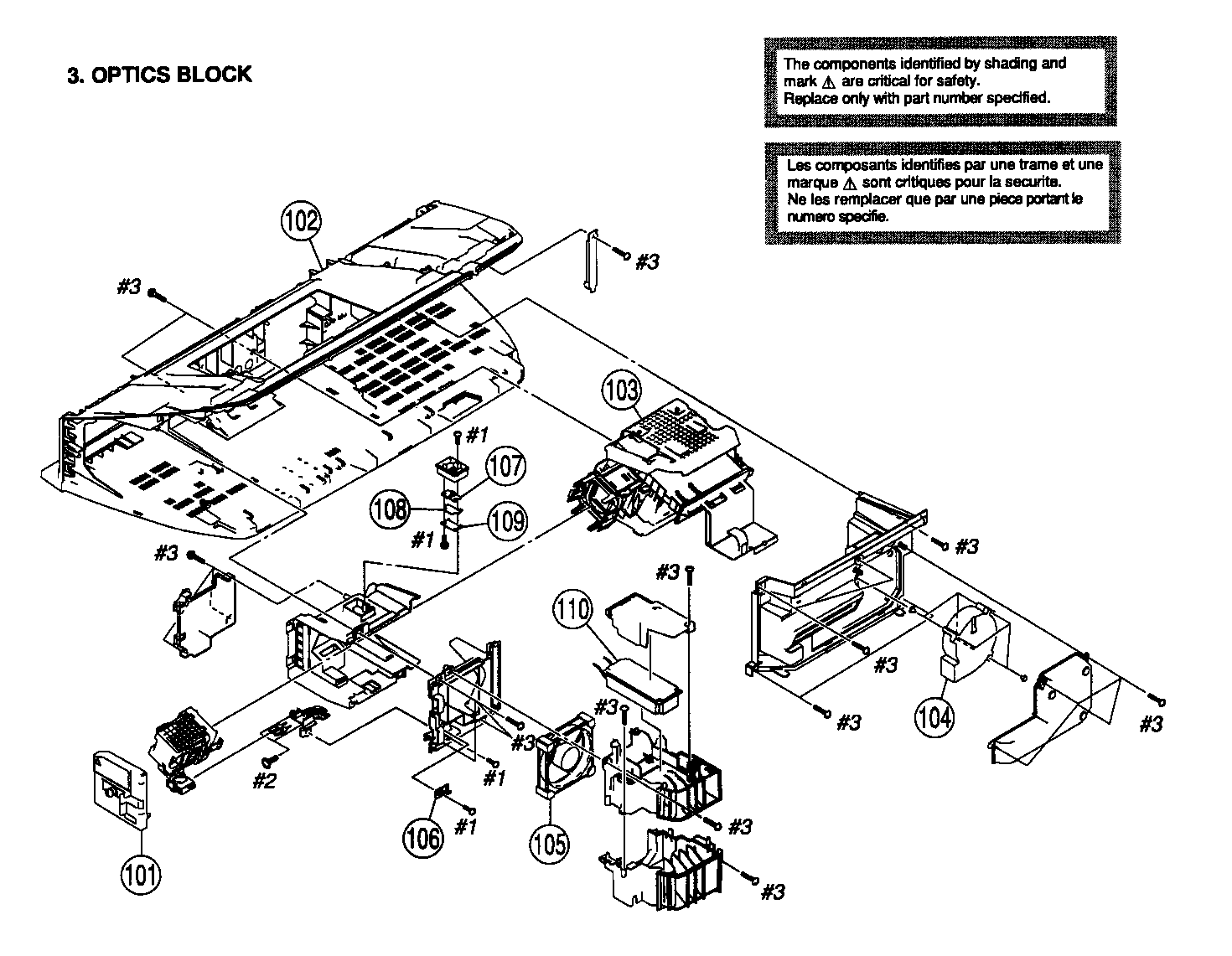 OPTIC BLOCK Diagram & Parts List for Model KDS60A2020 Sony