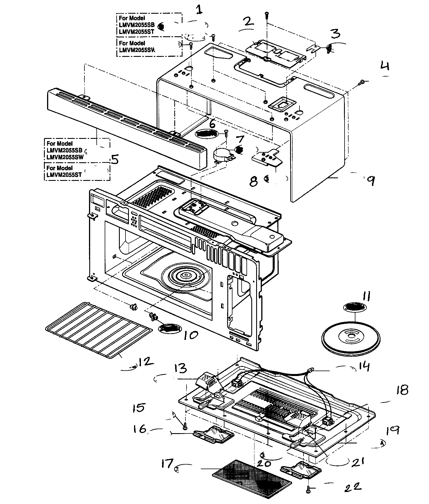 hight resolution of lg lmvm2055st oven cavity parts diagram