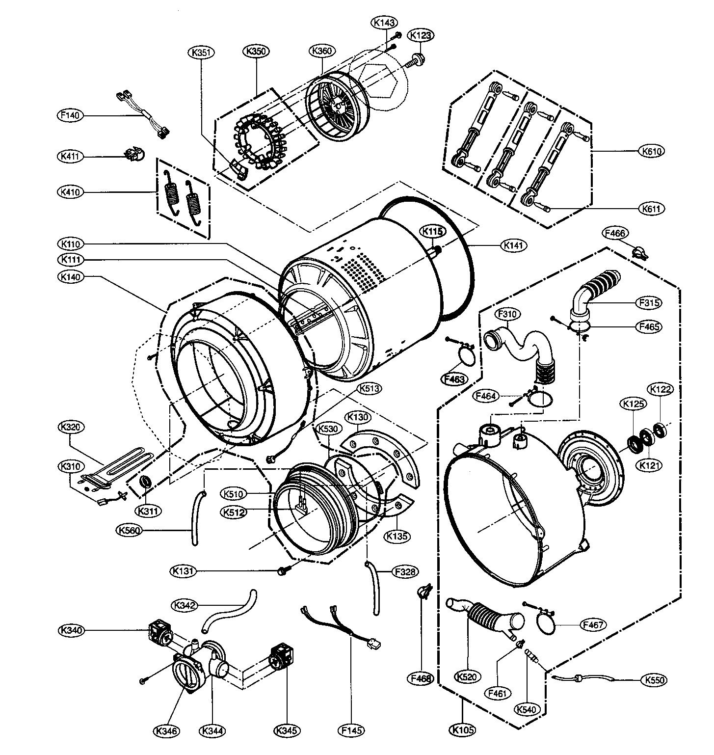 DRUM/TUB ASSY Diagram & Parts List for Model wm2688hnm LG