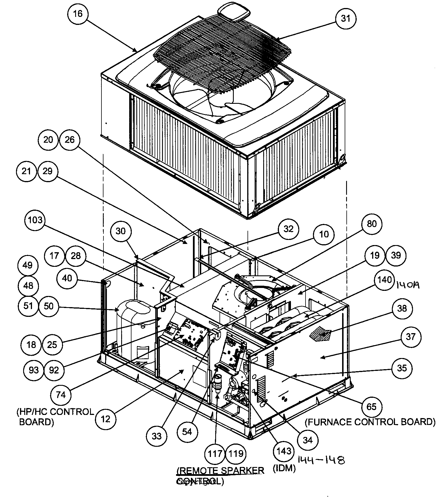 OUTSIDE VIEW Diagram & Parts List for Model 48XT036090300