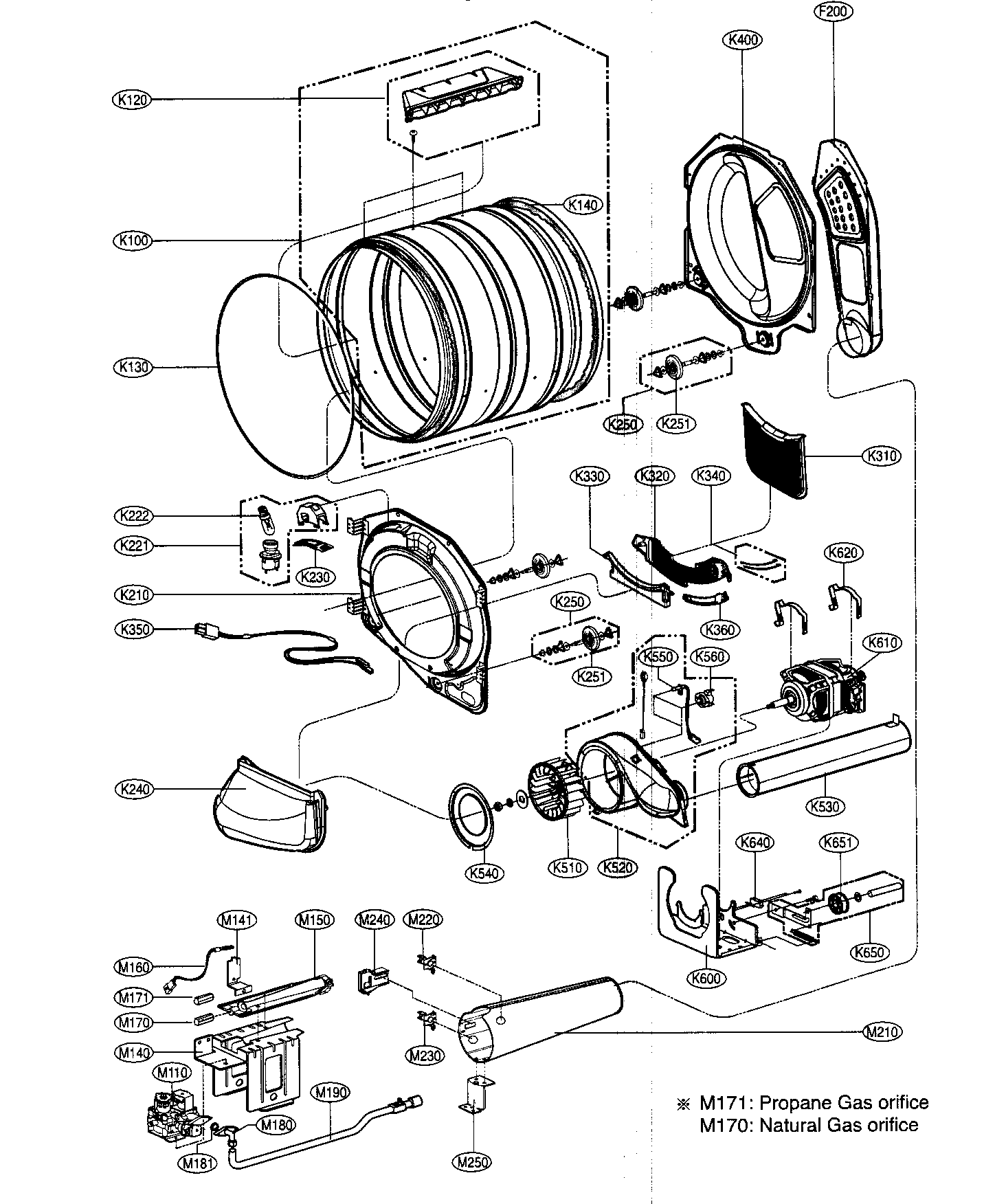 DRUM/MOTOR ASSY Diagram & Parts List for Model dlg8388wm