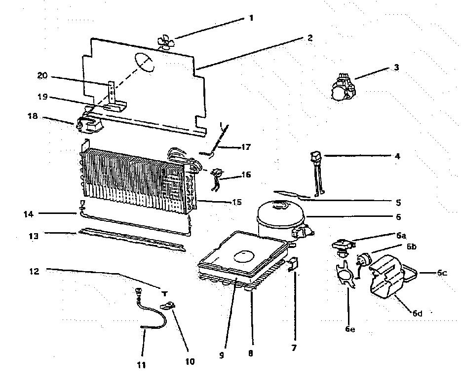 COMPRESSOR ASSY Diagram & Parts List for Model f20nac Wc