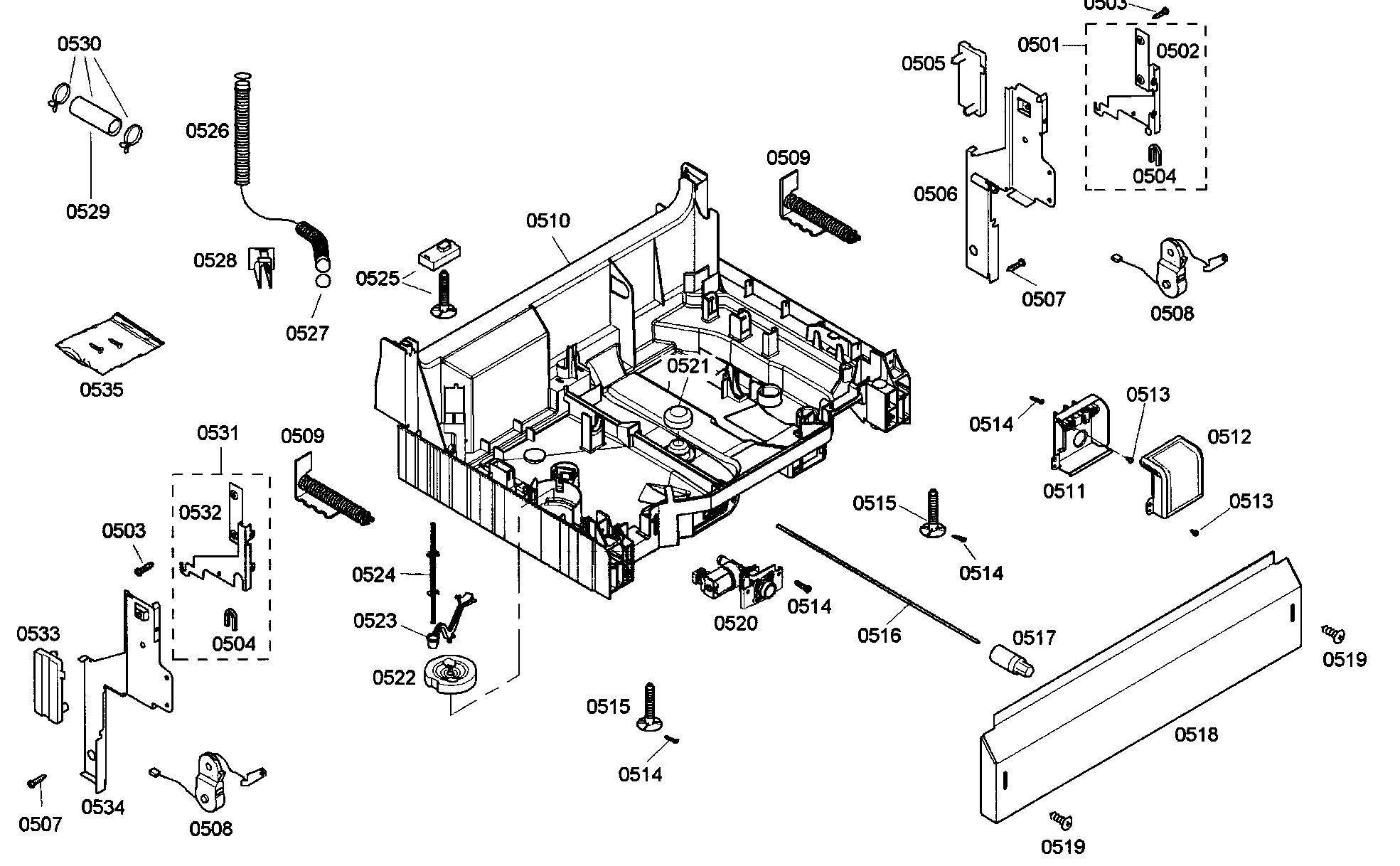 hight resolution of bosch she43m05uc 48 base assy diagram