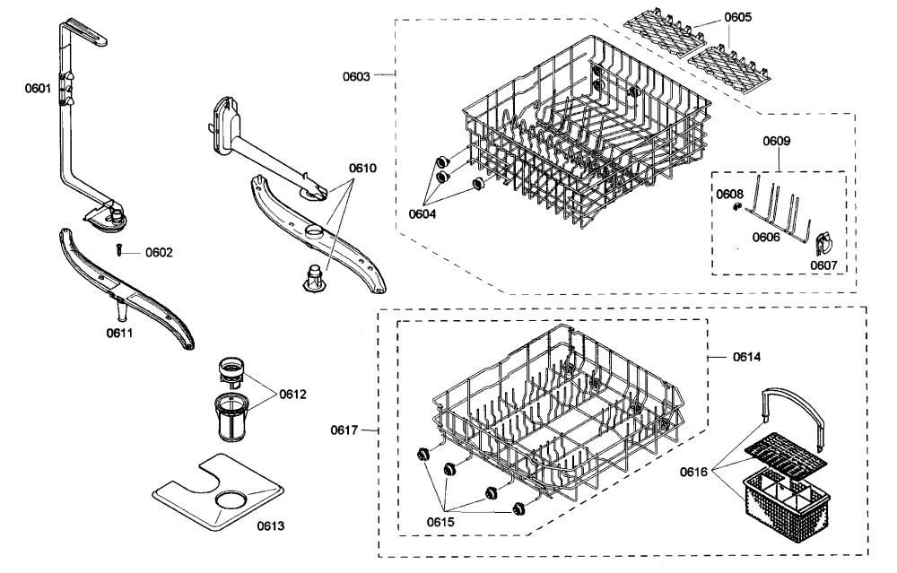 medium resolution of bosch she43m05uc 48 racks assy diagram