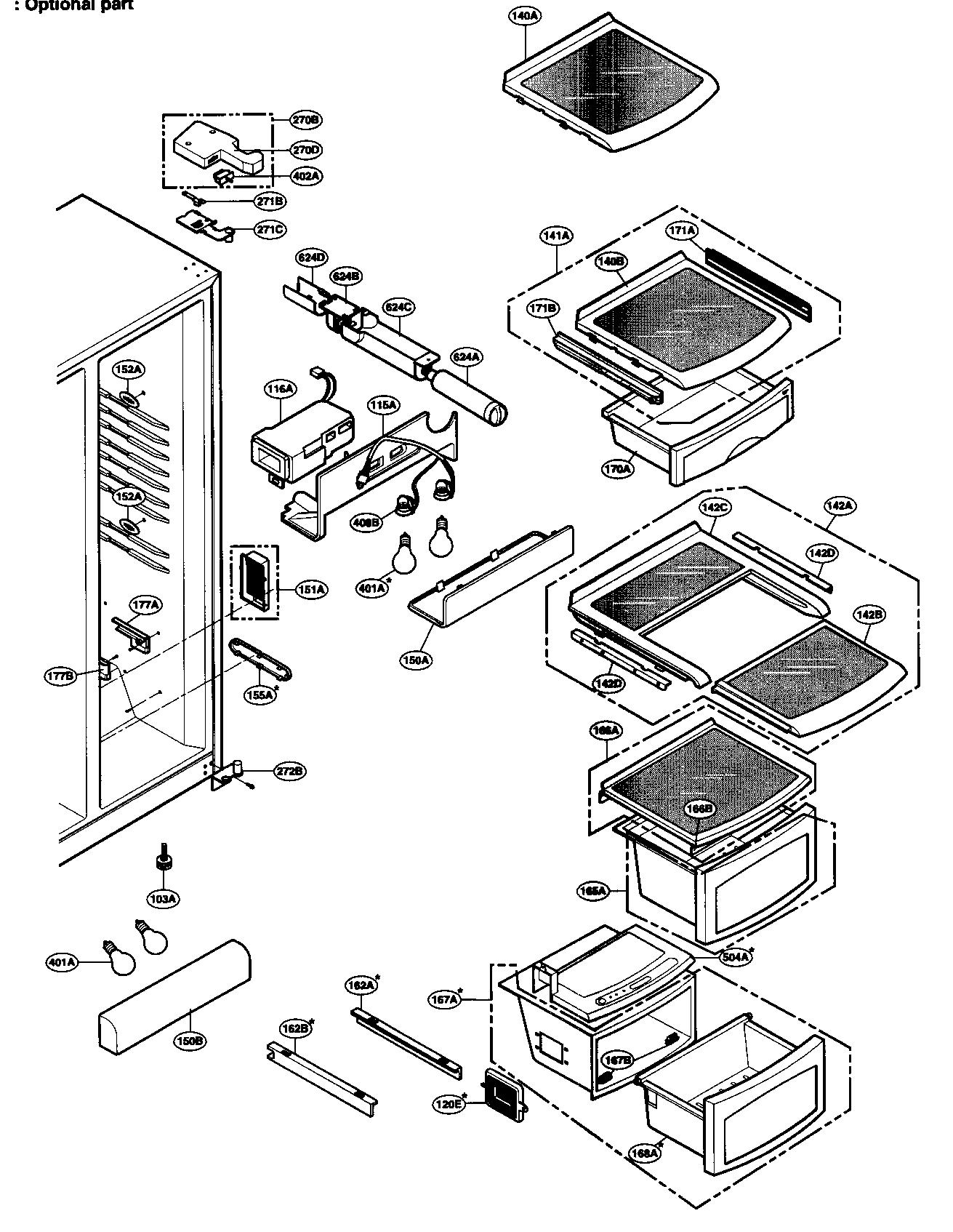 REFRIGERATOR COMPARTMENT Diagram & Parts List for Model
