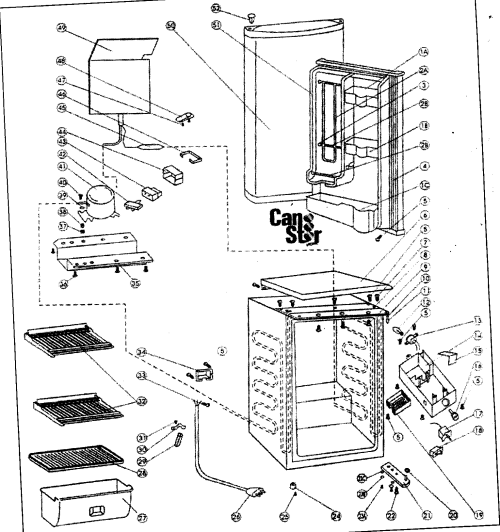 small resolution of danby dar452bl cabinet parts diagram cabinet parts displaying 19 parts refrigerator power cord