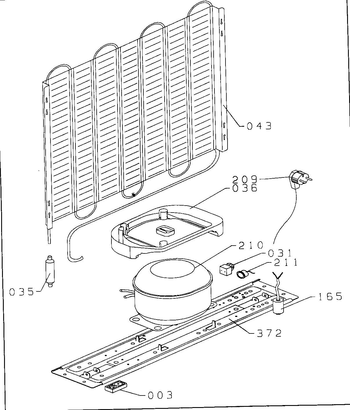 COMPRESSOR Diagram & Parts List for Model d1012w Danby