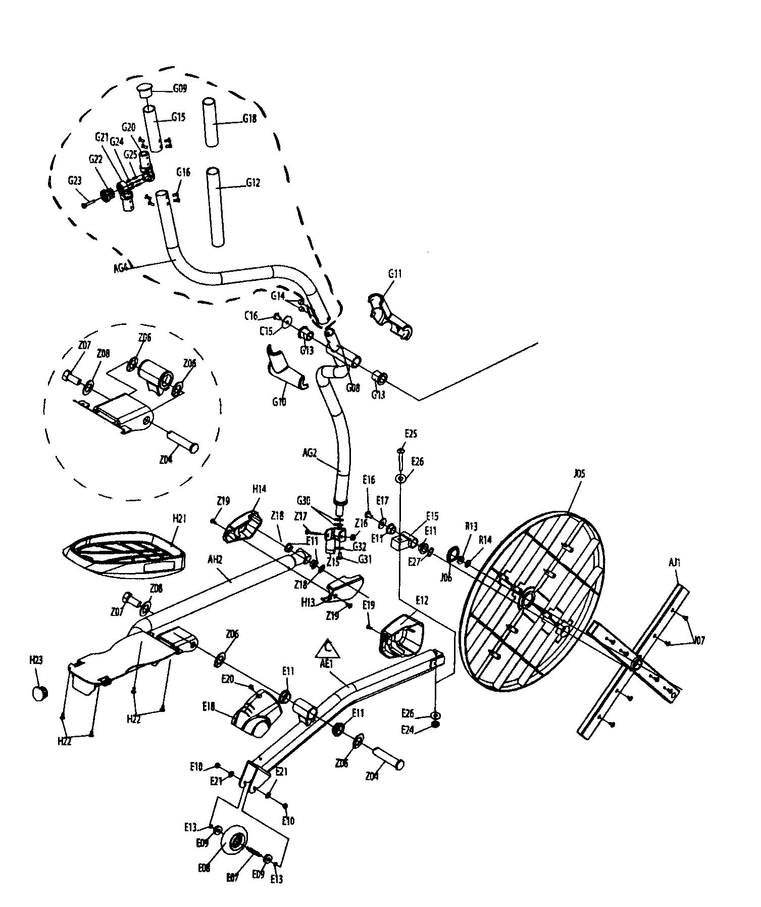 FRAME ASSY Diagram & Parts List for Model SXE77 Horizon