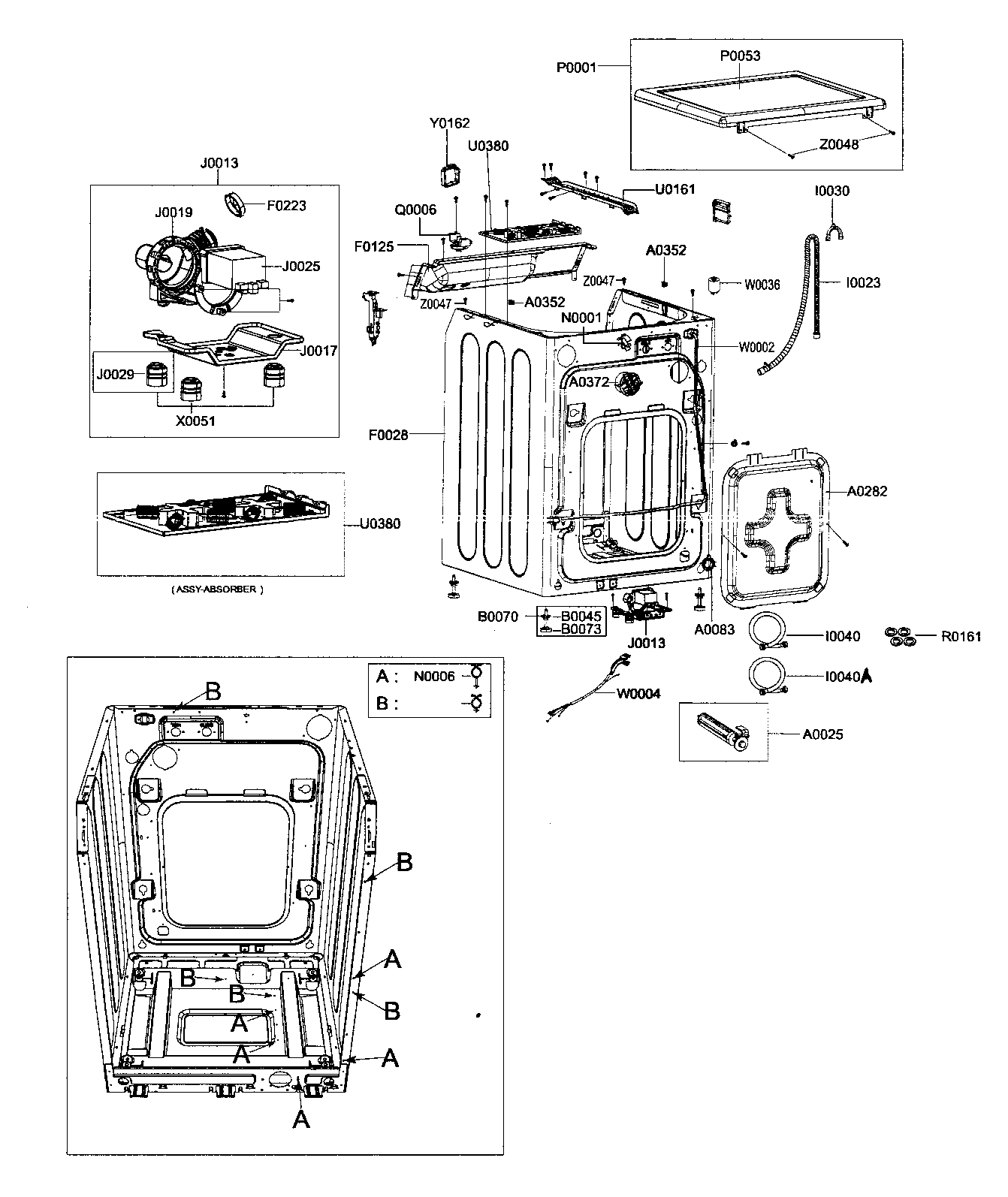 FRAME ASSY Diagram & Parts List for Model wf206ansxac